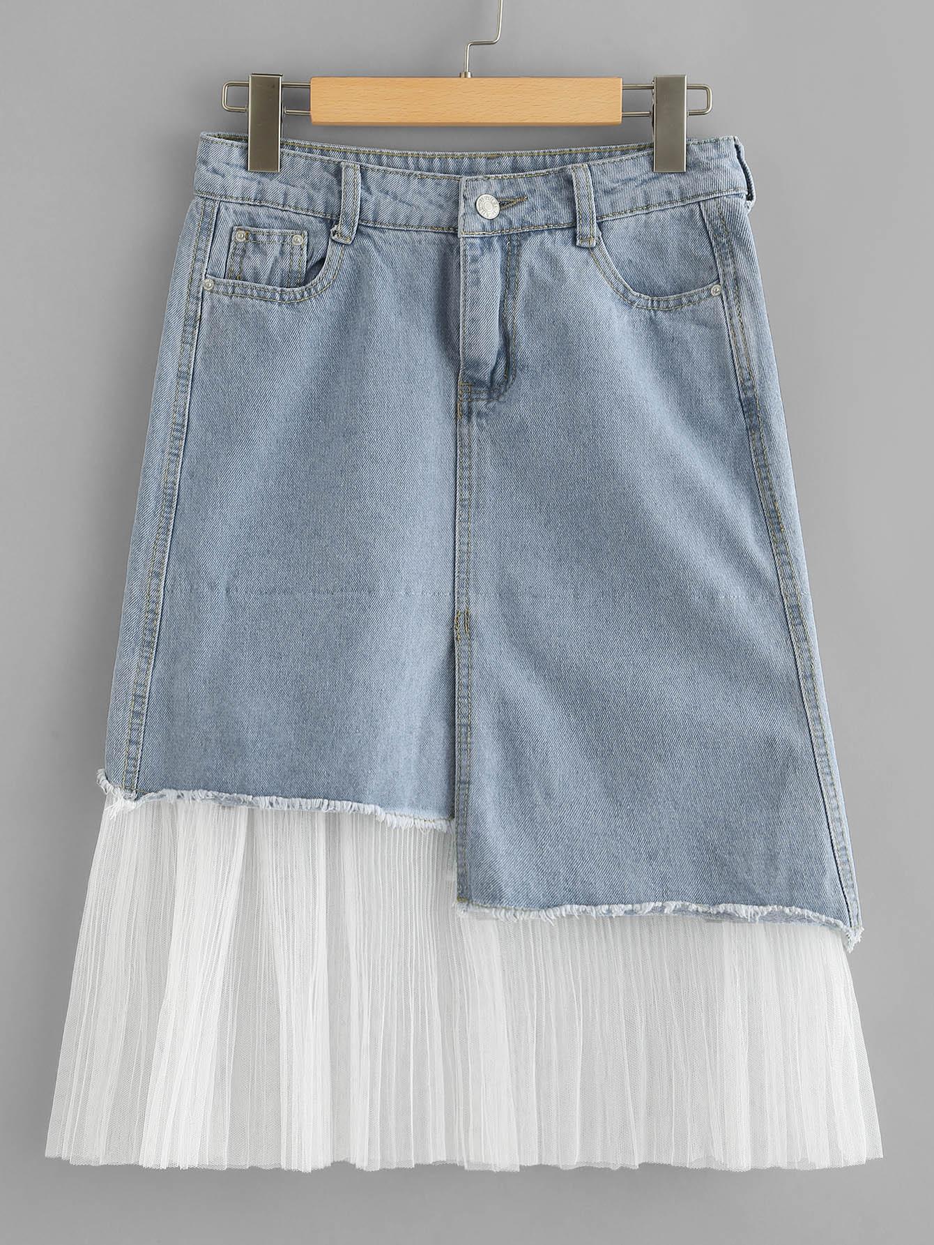 Mesh Contrast Raw Hem Denim Skirt girls single breasted raw hem skirt