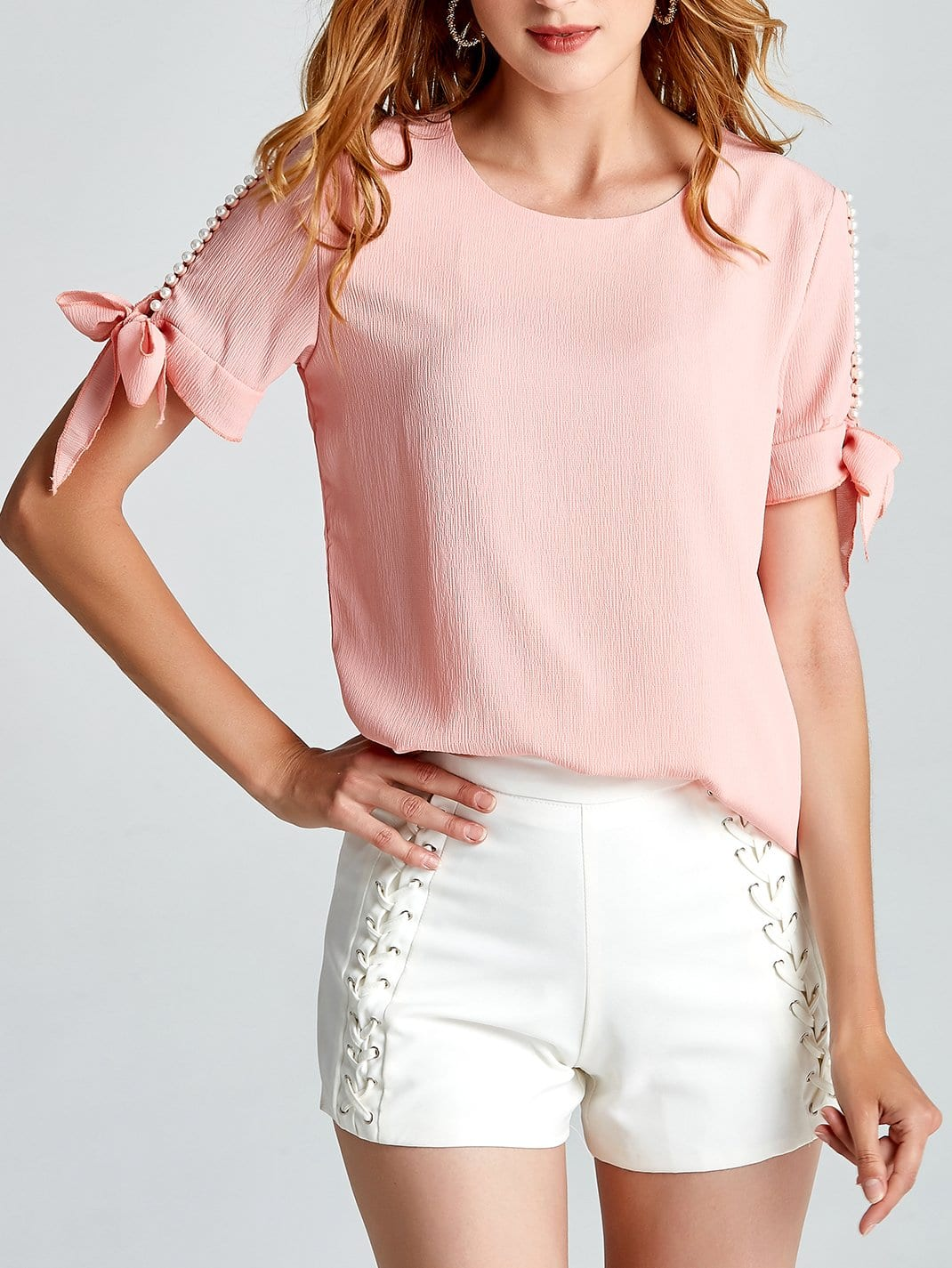 Faux Pearl Beading Tie Detail Top pearl beading frill detail sweatshirt