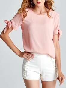 Faux Pearl Beading Tie Detail Top