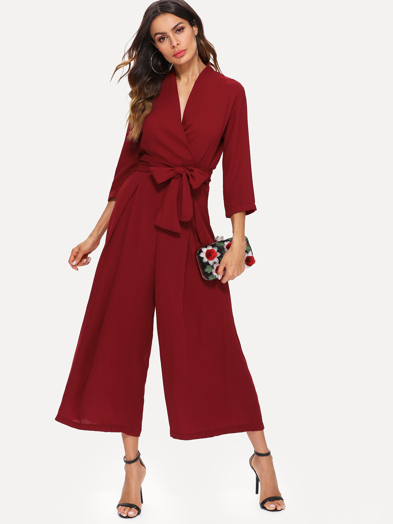 Surplice Wrap Tie Waist Wide Leg Jumpsuit surplice neckline self tie cami jumpsuit