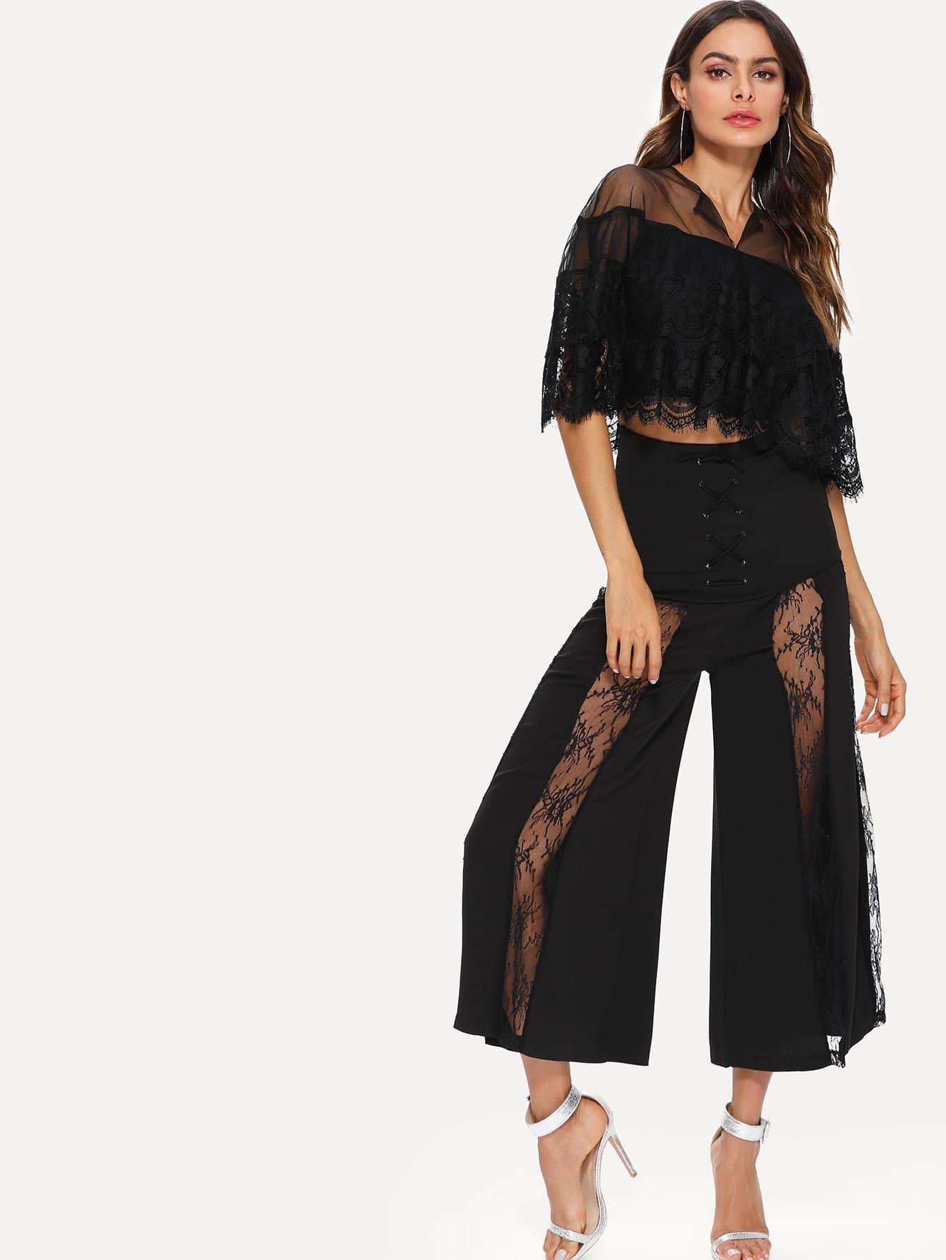 Lace Top & Criss Cross Wide Leg Pants criss cross lace bandeau tube top