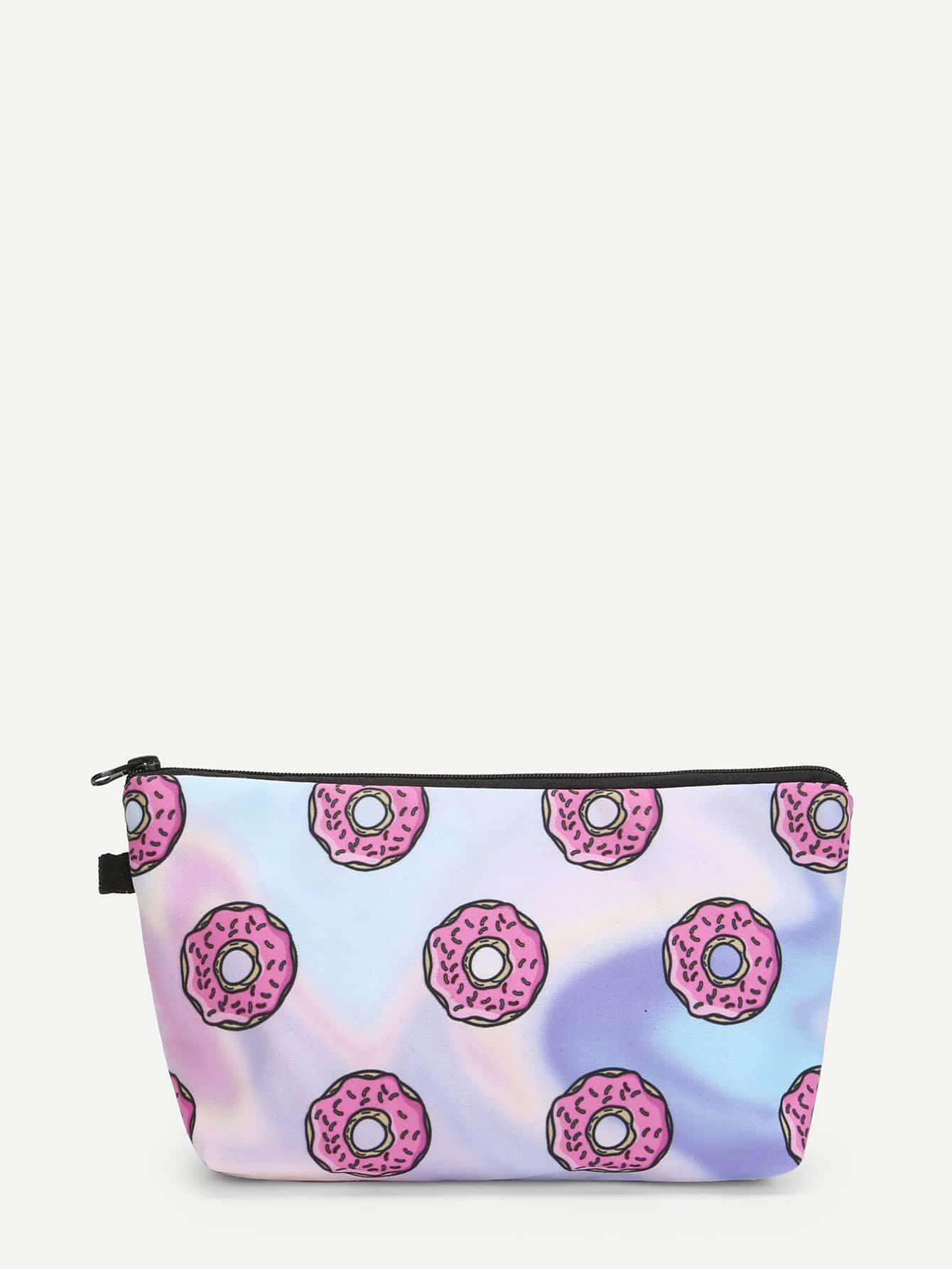 Doughnut Print Make Up Bag doughnut print pullover
