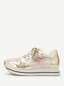 Sequin Decorated Metallic Sneakers