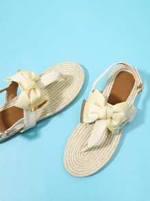 Toe Post Bow Decor Espadrille Sandals