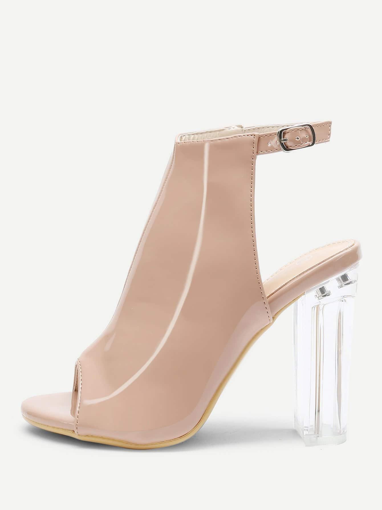 Фото Peep Toe Buckle Strap Chunky Heels closed toe v cut chunky heels mauve