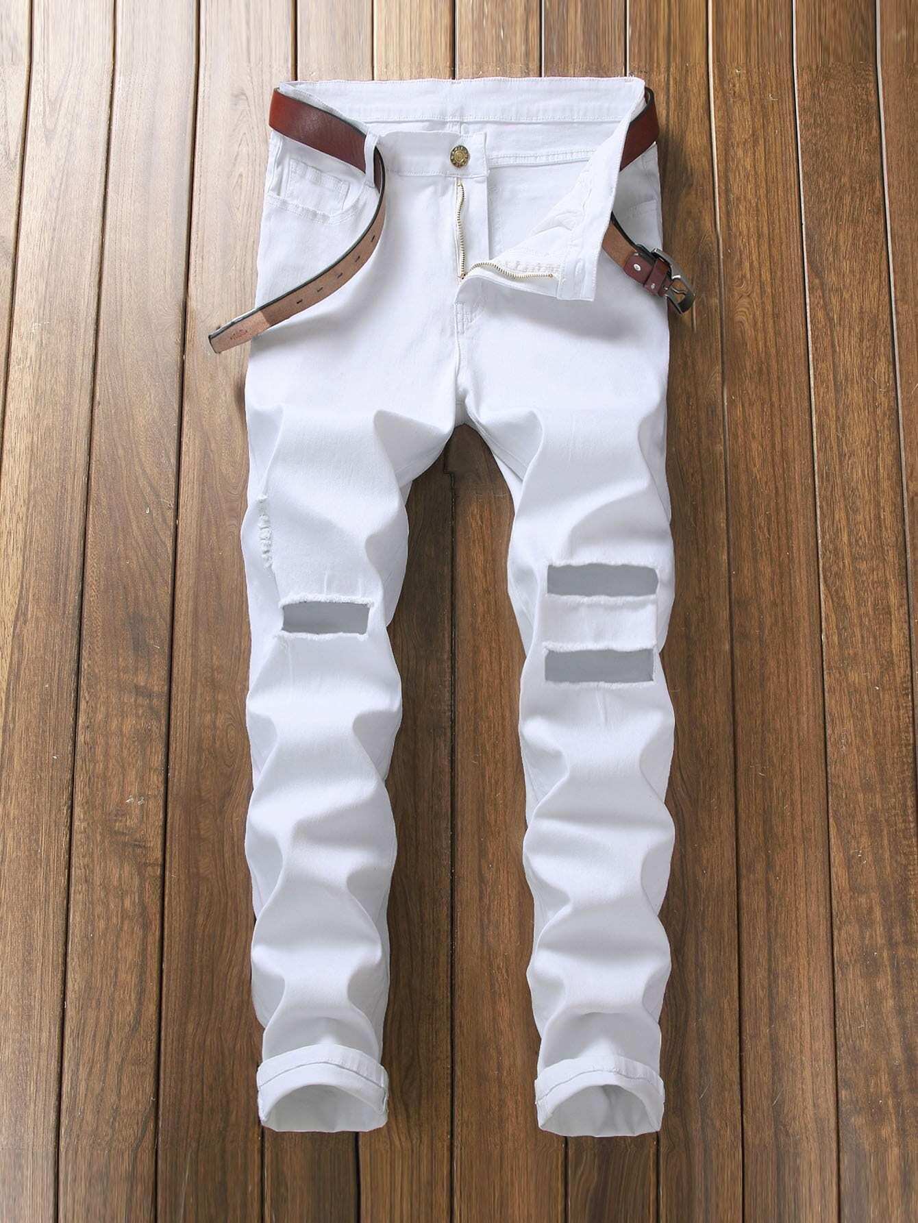 Men Slim Fit Ripped Crop Trousers футболка wearcraft premium slim fit printio акула