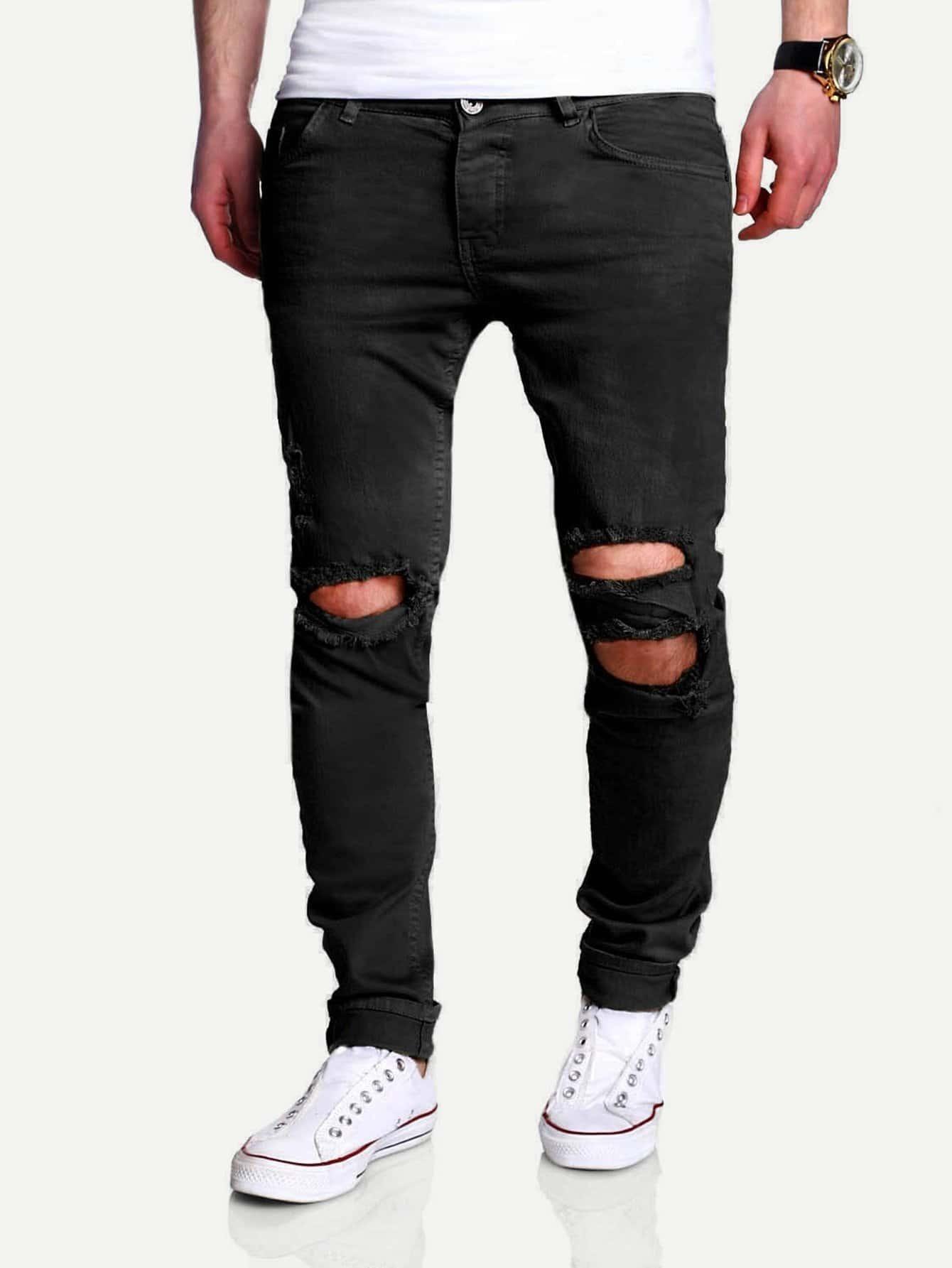 Men Slim Fit Ripped Crop Trousers