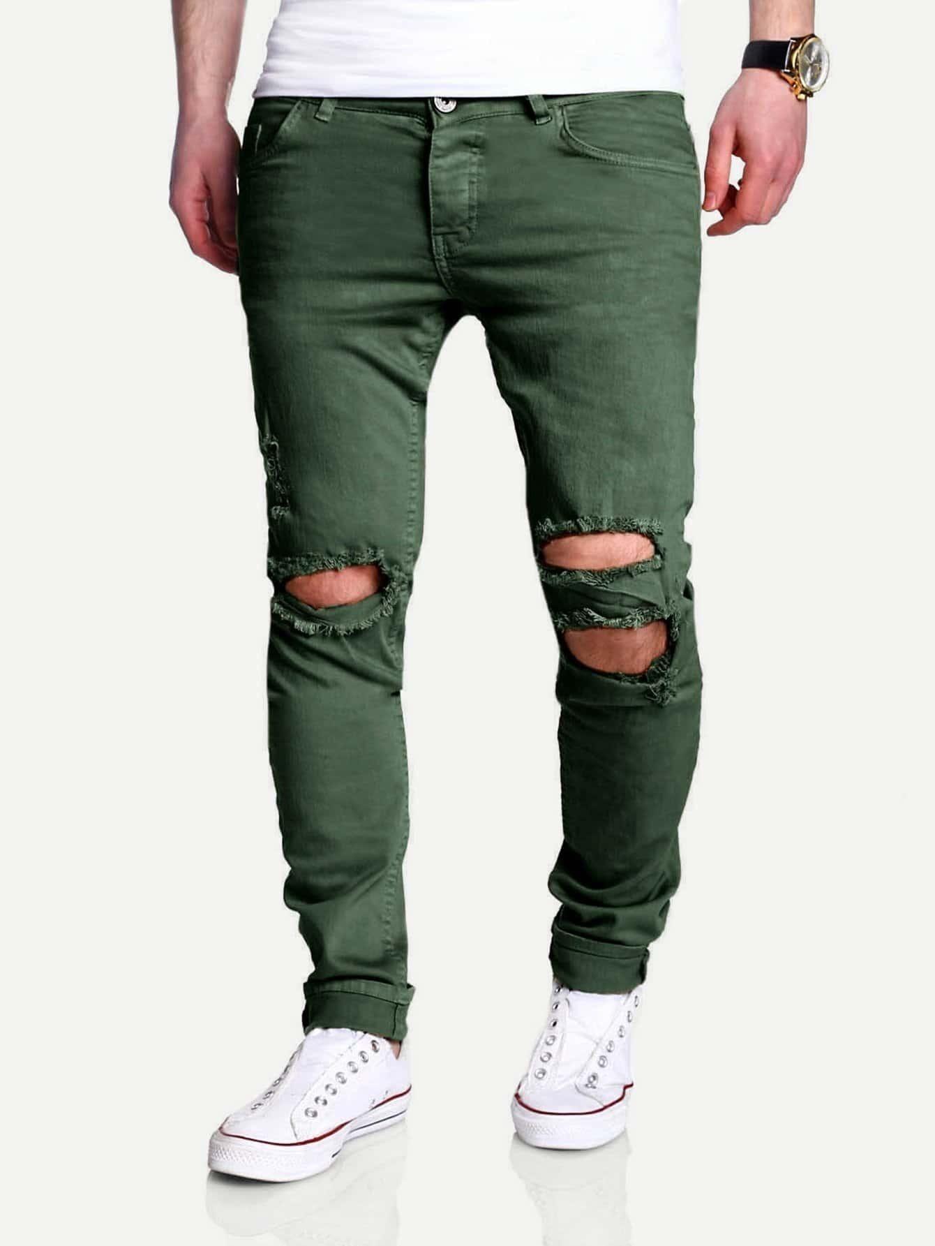 Men Slim Fit Ripped Crop Trousers футболка wearcraft premium slim fit printio avengers