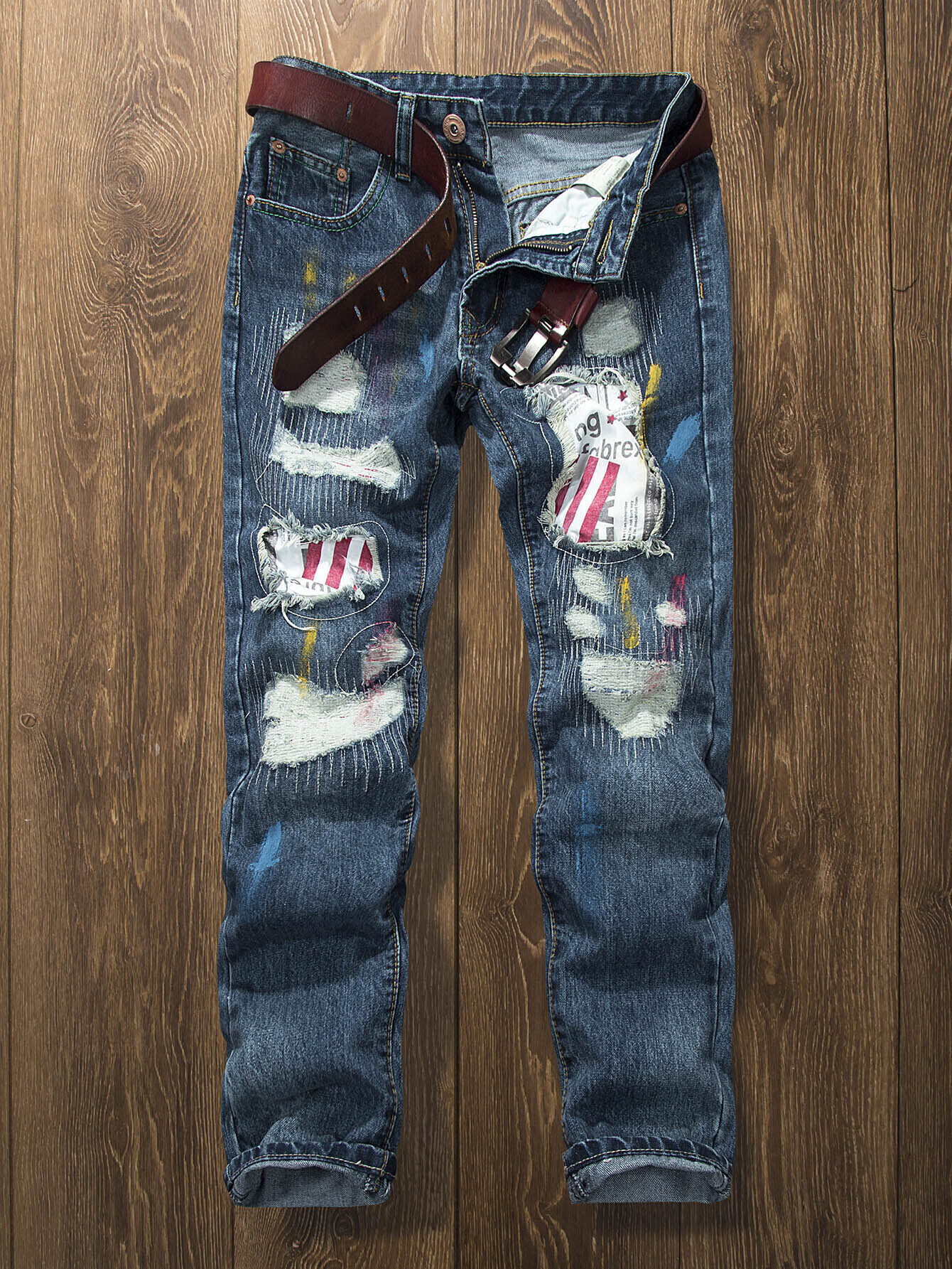 Men Biker Jeans With Patches rl629 men s blue jeans slim fit denim ripped pants uomo high quality designer brand clothing moto biker jeans with logo men