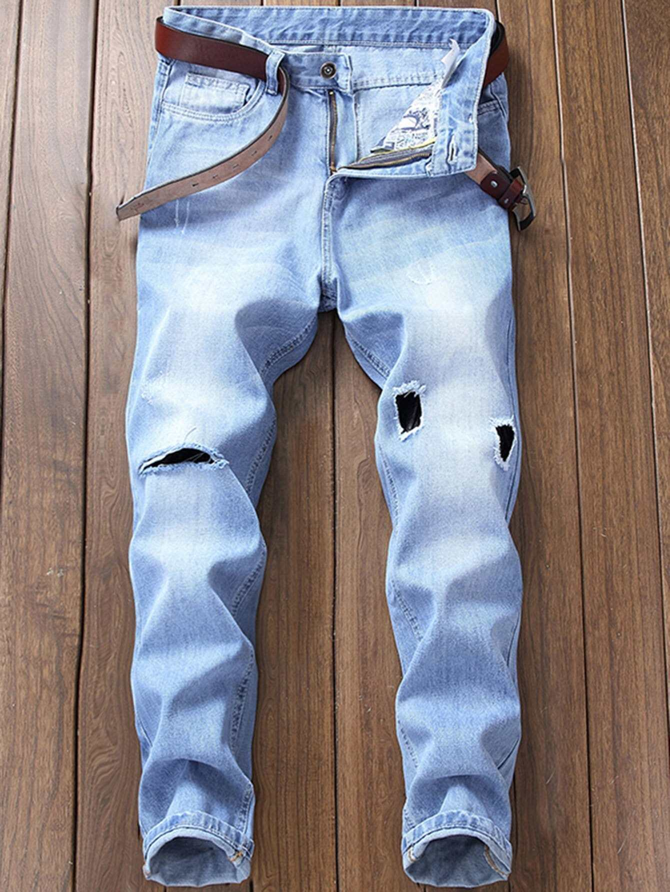 Men Ripped Slim Jeans nostalgia retro design fashion men jeans european stylish dimensional knee frayed hole destroyed ripped jeans men biker jeans
