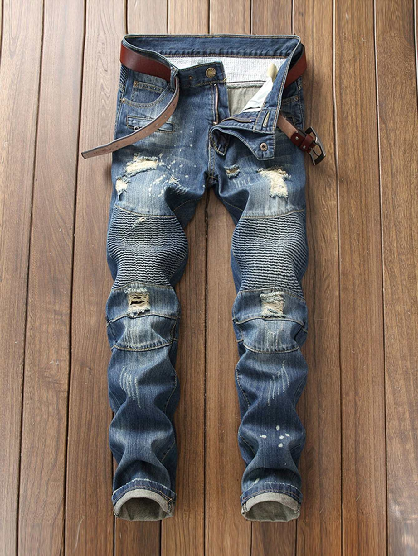 Men Ripped Biker Jeans nostalgia retro design fashion men jeans european stylish dimensional knee frayed hole destroyed ripped jeans men biker jeans