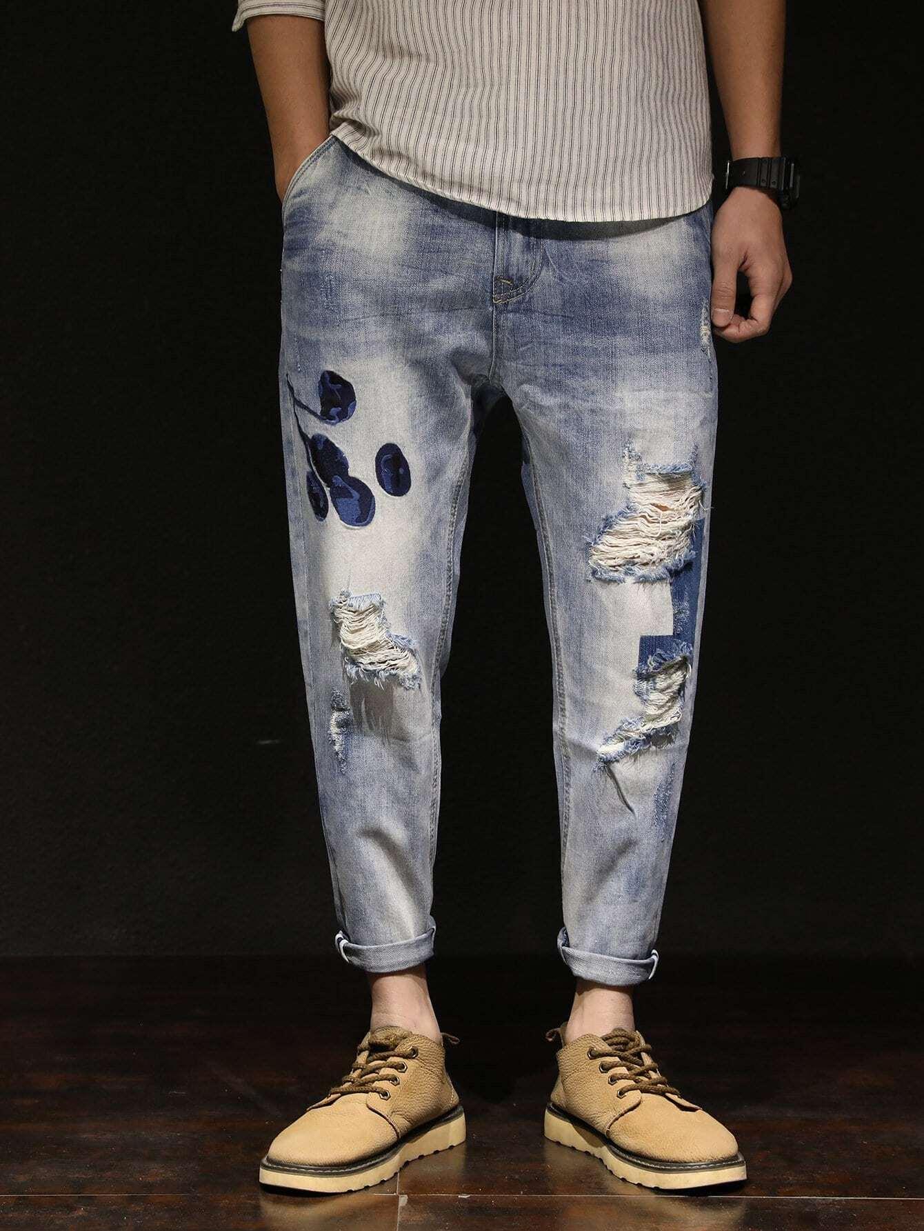 Men Loose Fit Harlem Jeans men s cowboy jeans fashion blue jeans pant men plus sizes regular slim fit denim jean pants male high quality brand jeans