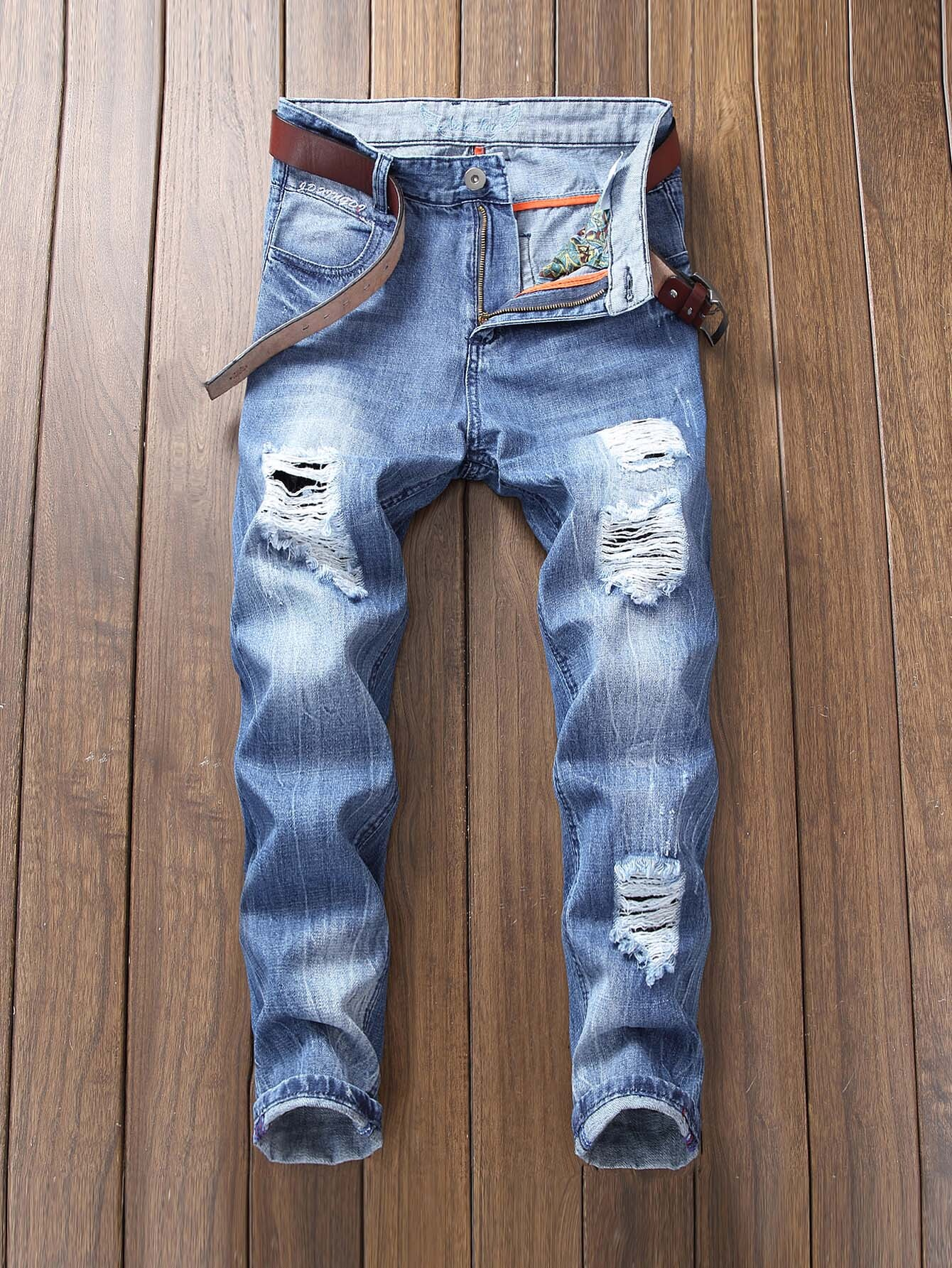 Men Ripped Stretch Slim Jeans 2016 italy famous men s jeans new brand men slim fit jeans trousers wear white ripped skinny ripped denim jeans for men
