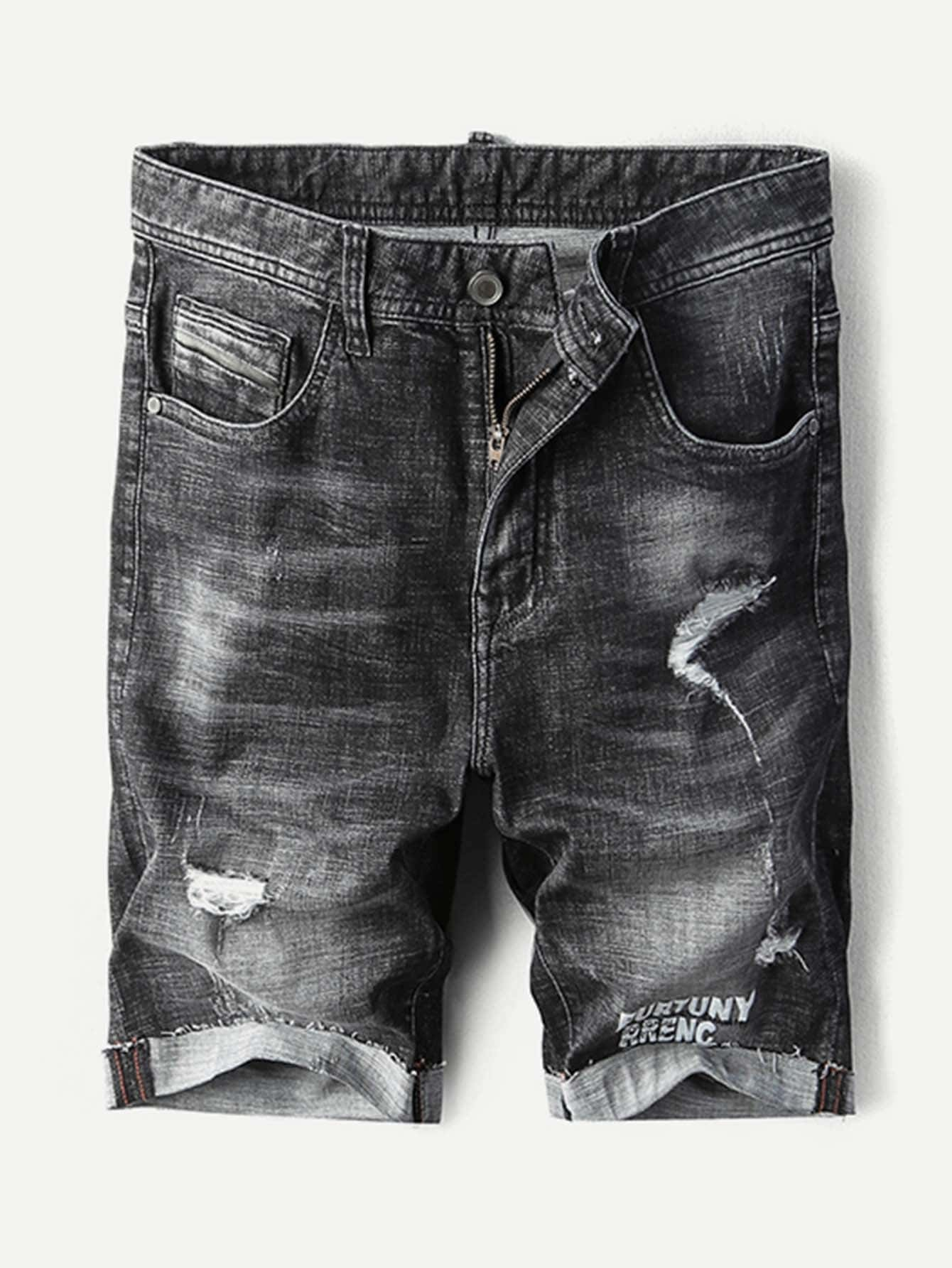 Men Ripped Denim Bermuda Shorts цена