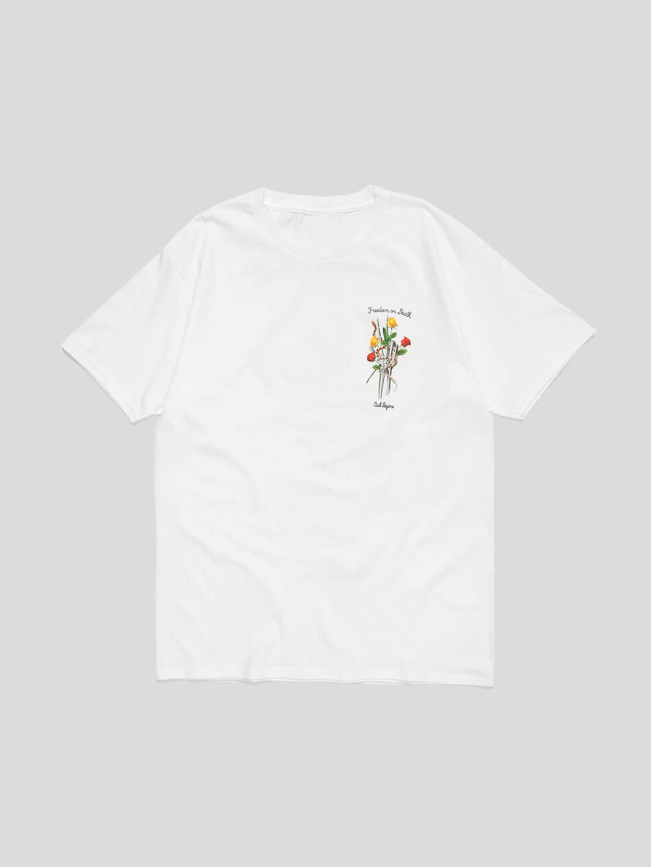 Men Skeleton Hand With Flower Graphic T-Shirt men architecture graphic back t shirt