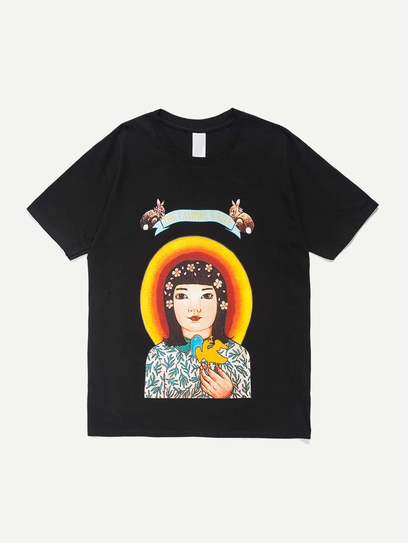 Men Little Girl Graphic T-Shirt men architecture graphic back t shirt