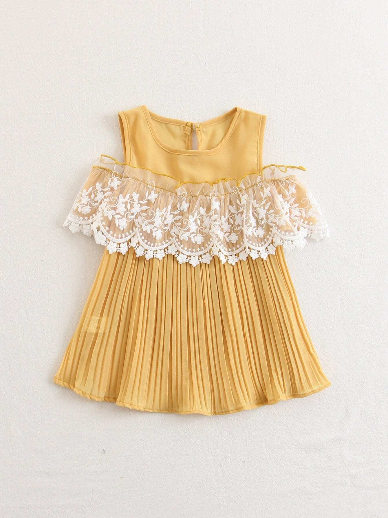 Kids Contrast Lace Pleated Dress contrast collar lace applique pleated pinstripe dress