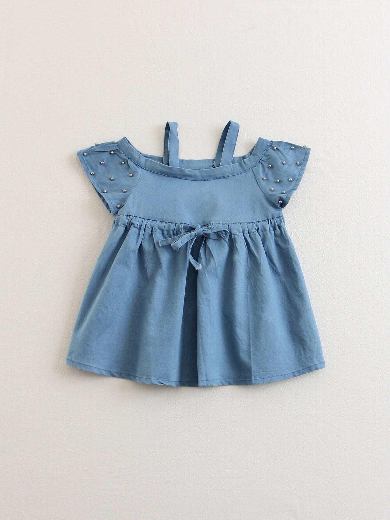 Kids Beaded Drawstring Denim Blouse kids plain denim blouse
