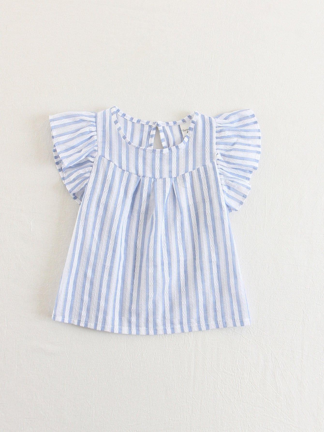Блузка с полосками и оборками на рукавах для детей, null, SheIn  - купить со скидкой