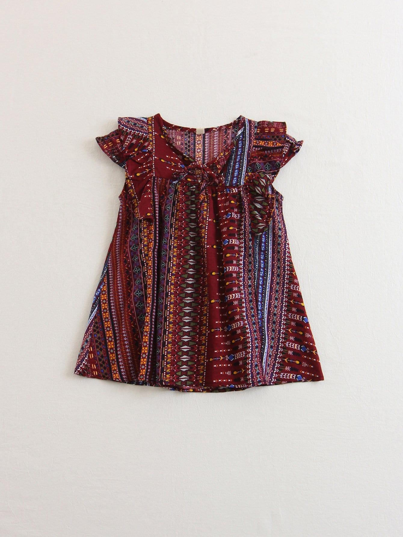 Купить Блузка с узелком на воротнике для детей, null, SheIn