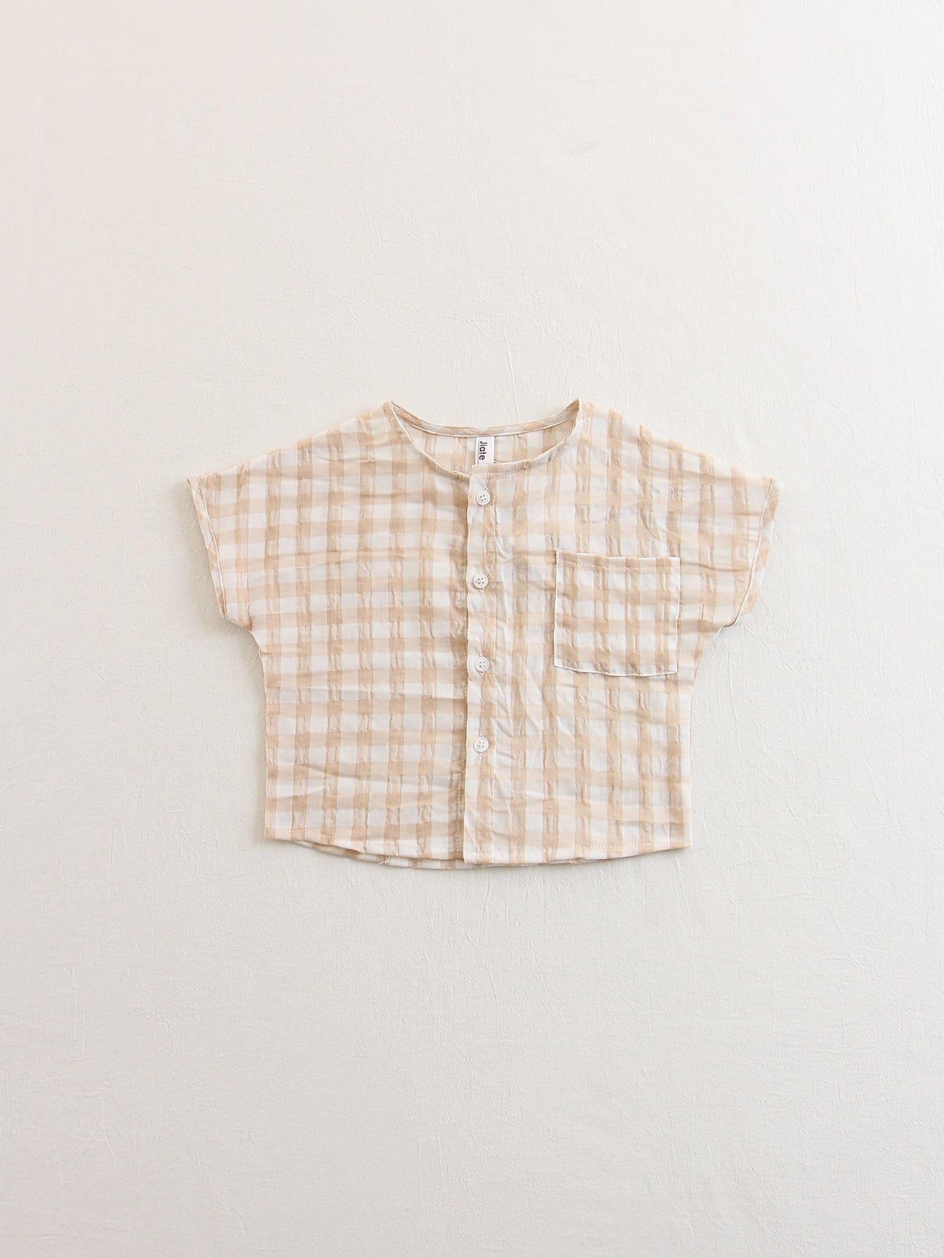Kids Pocket Front Plaid Shirt