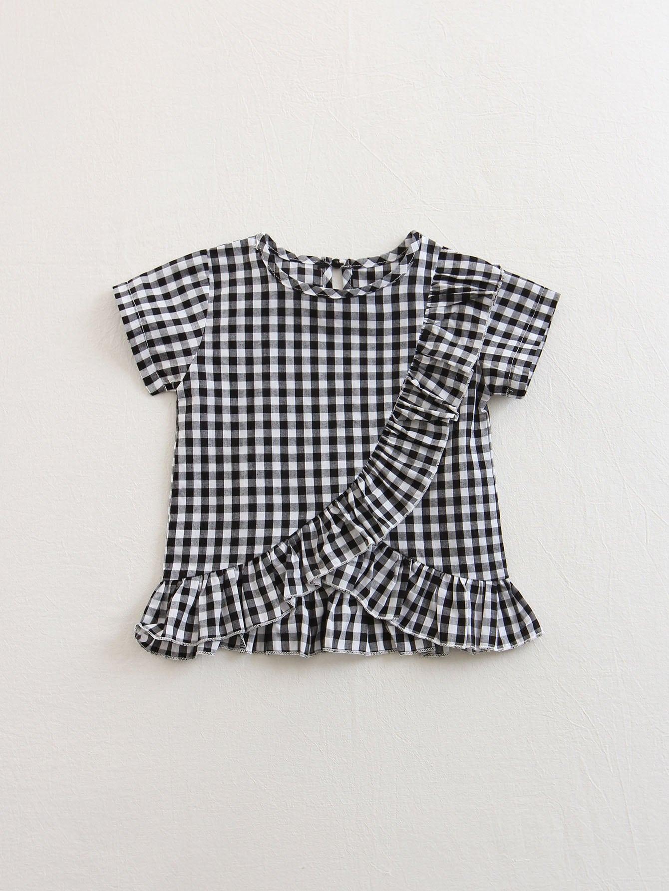 Kids Gingham Ruffle Asymmetric Blouse asymmetric gingham pocket shirt