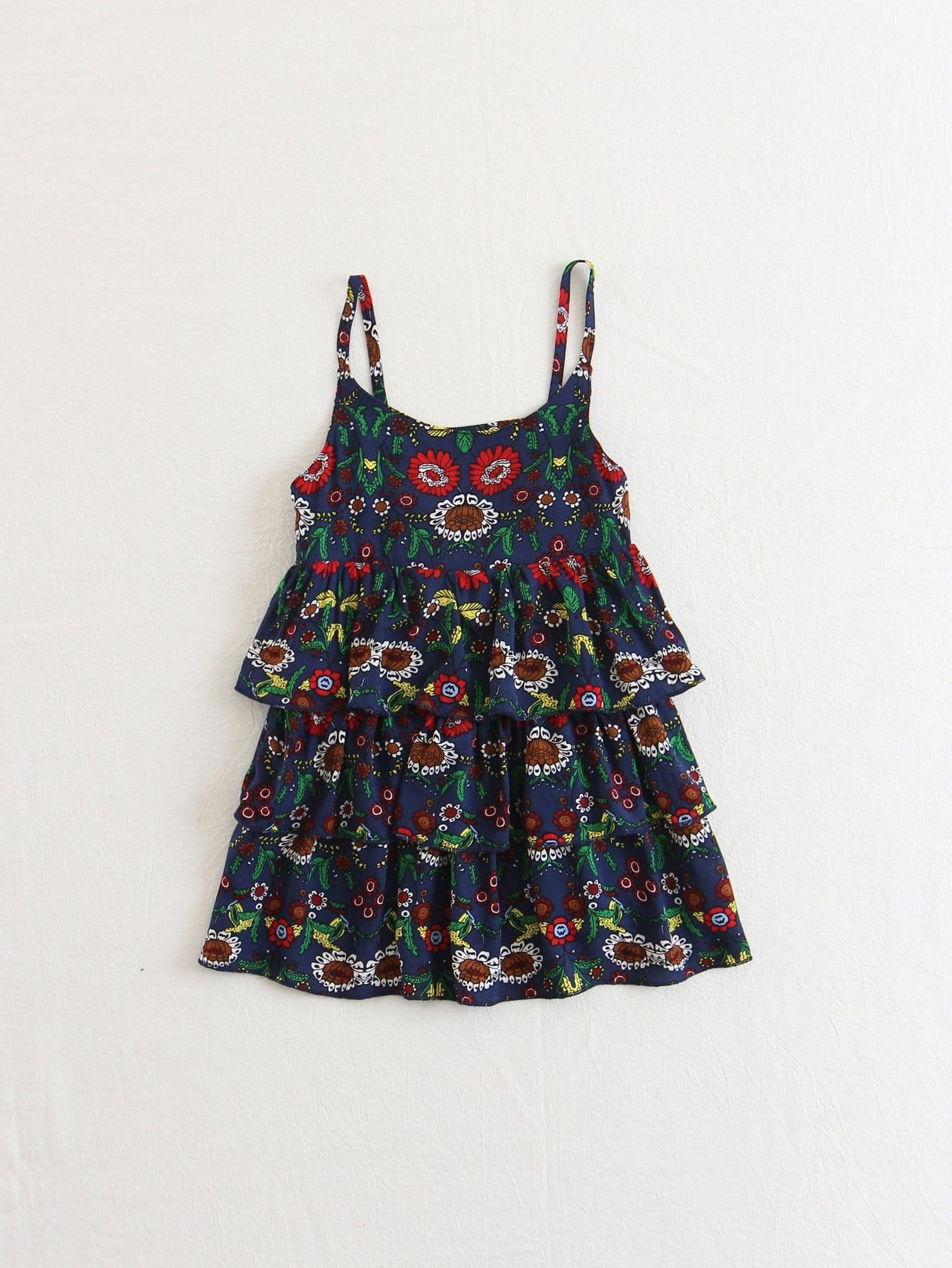 Kids Print Tiered Ruffle Cami Dress leaves print backless tiered layer cami dress