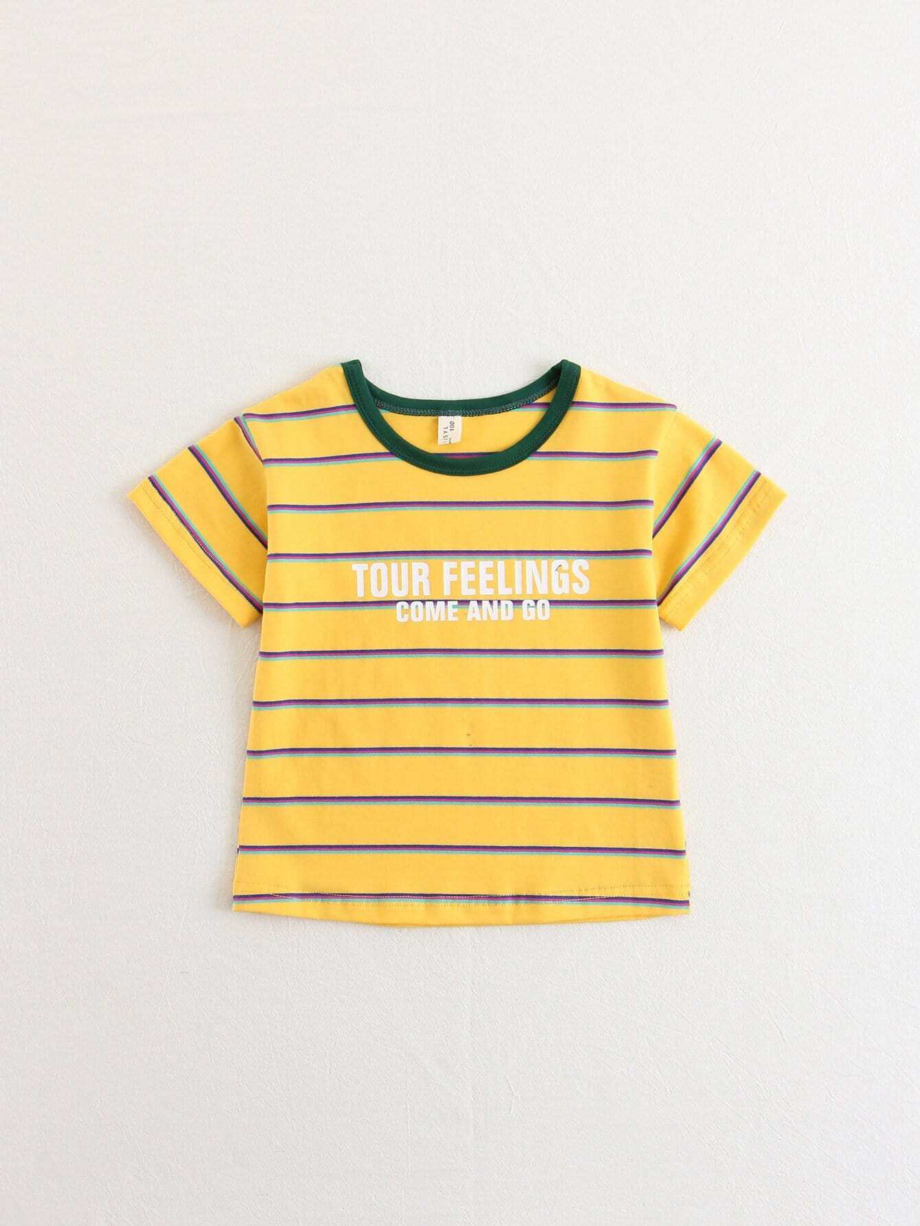 Girls Letter Print Striped Tee letter print striped tee