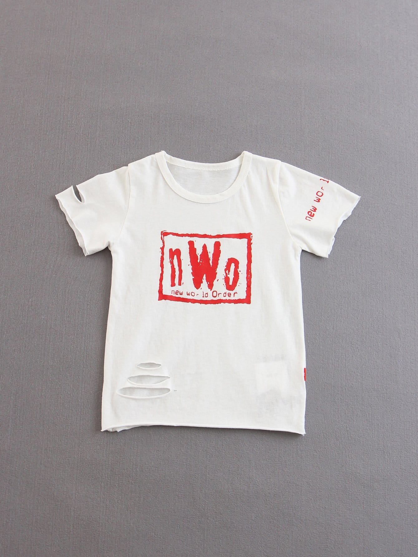 Kids Letters Print Ripped Tee все цены