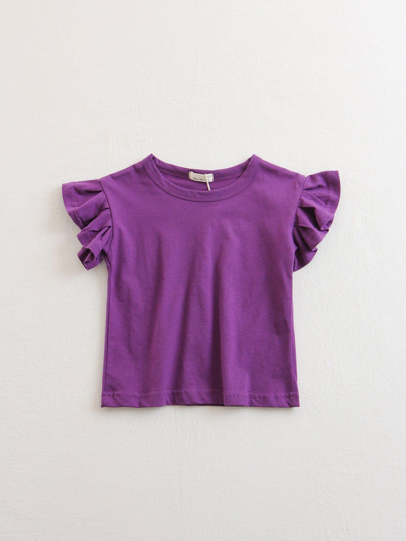 Ruffle Trim Solid T-shirt asymmetrical ruffle trim t shirt