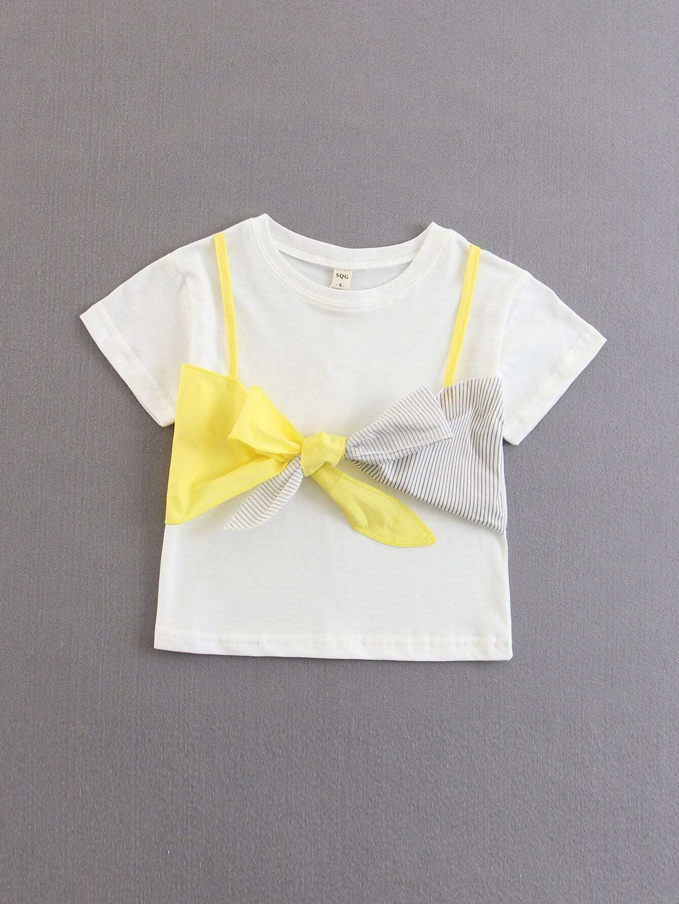 Kids Colorblock Bow 2 IN 1 Tee colorblock lace up tee