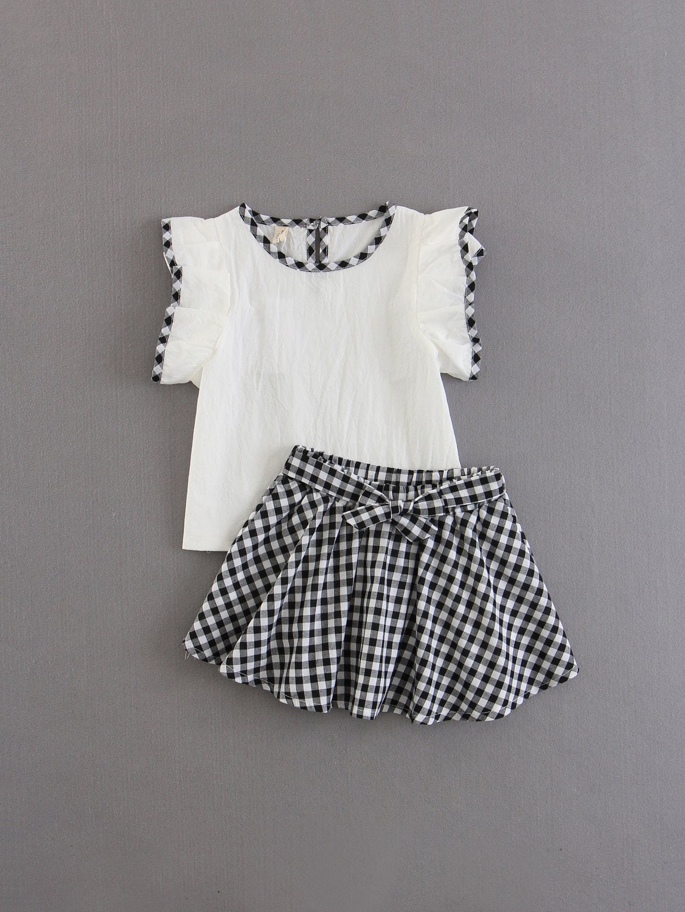 Купить Блузка с оборками и юбка в клетку для детей, null, SheIn