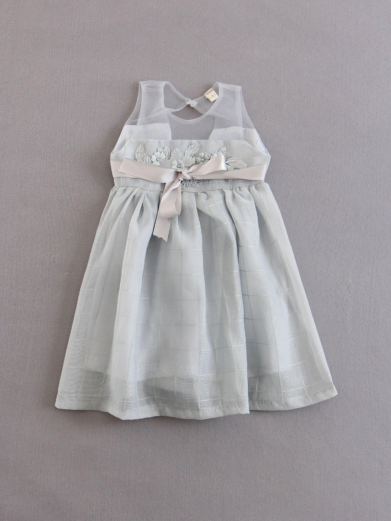 Купить Платье в клетку и прозрачной аппликацией для детей, null, SheIn