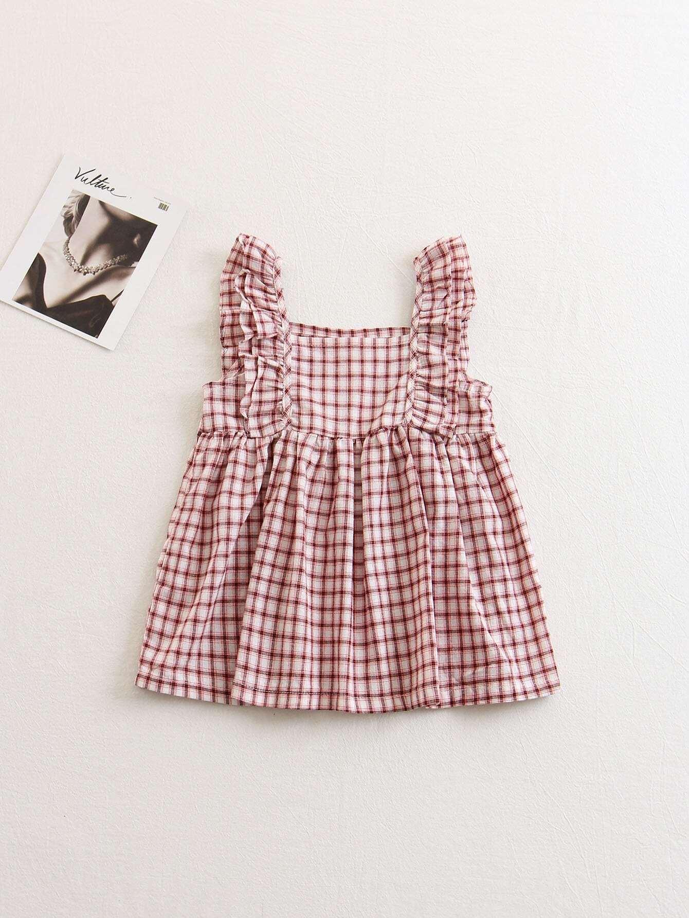 Kids Frill Sleeve Plaid Dress