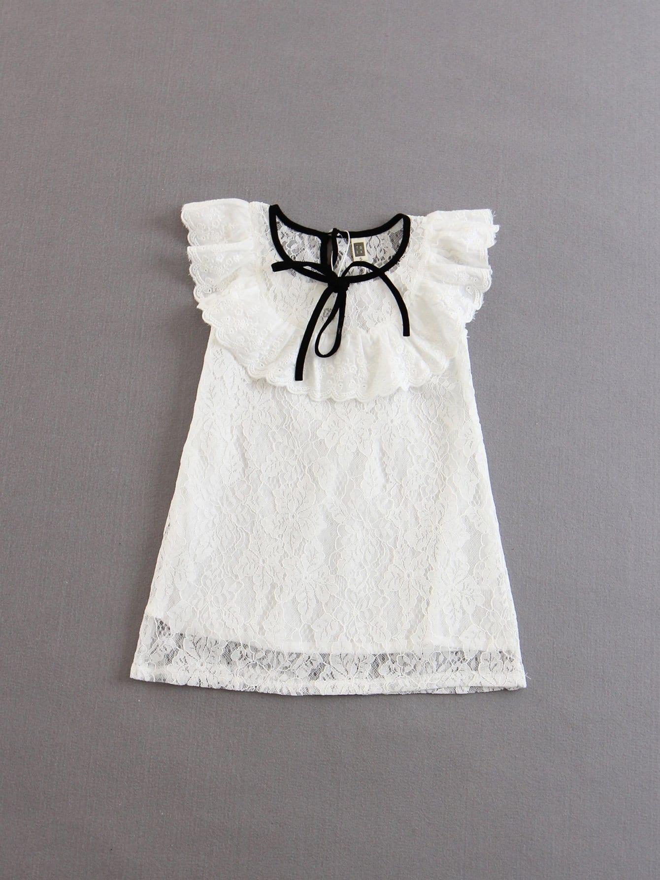 Купить Платье с кружевами и узелком для детей, null, SheIn