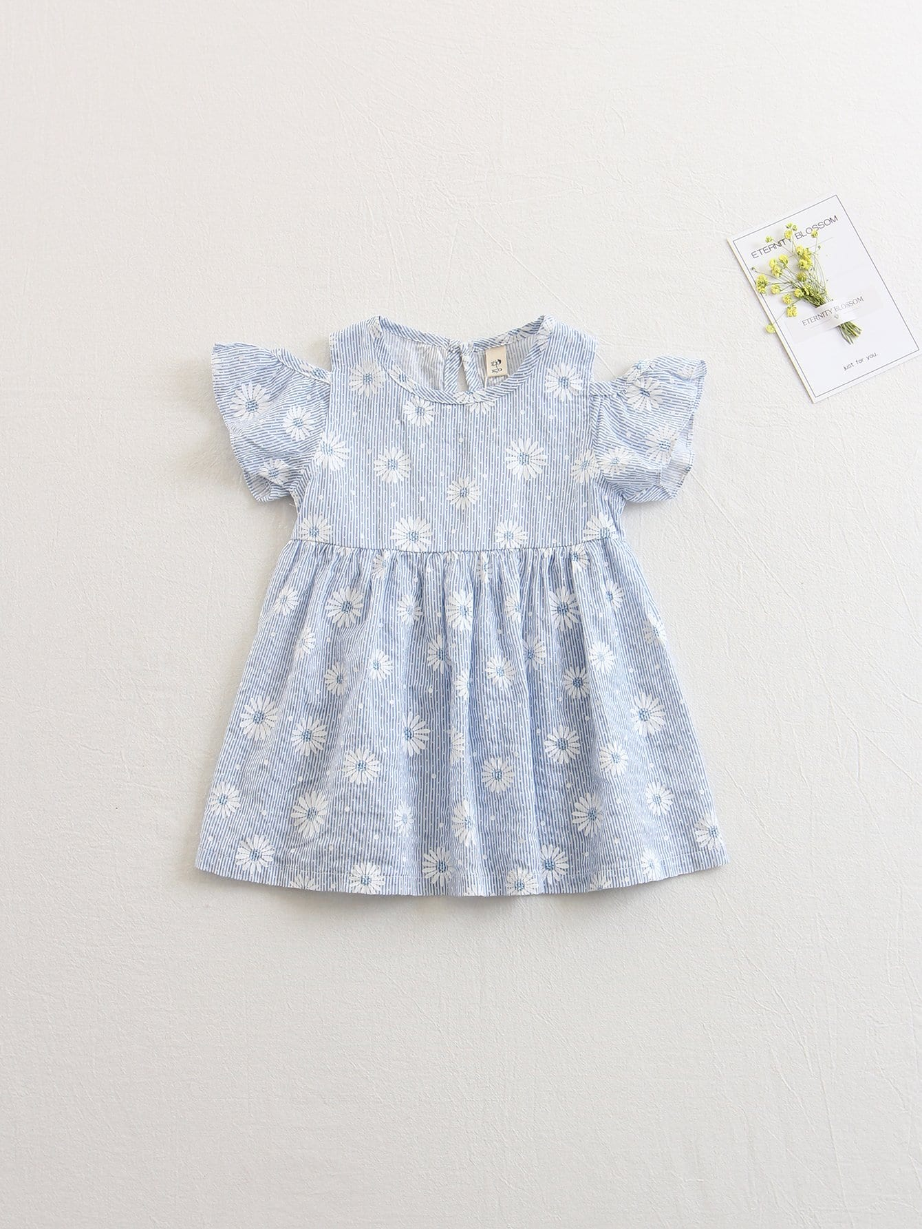 Купить Платье с открытыми плечами и полосками для детей, null, SheIn