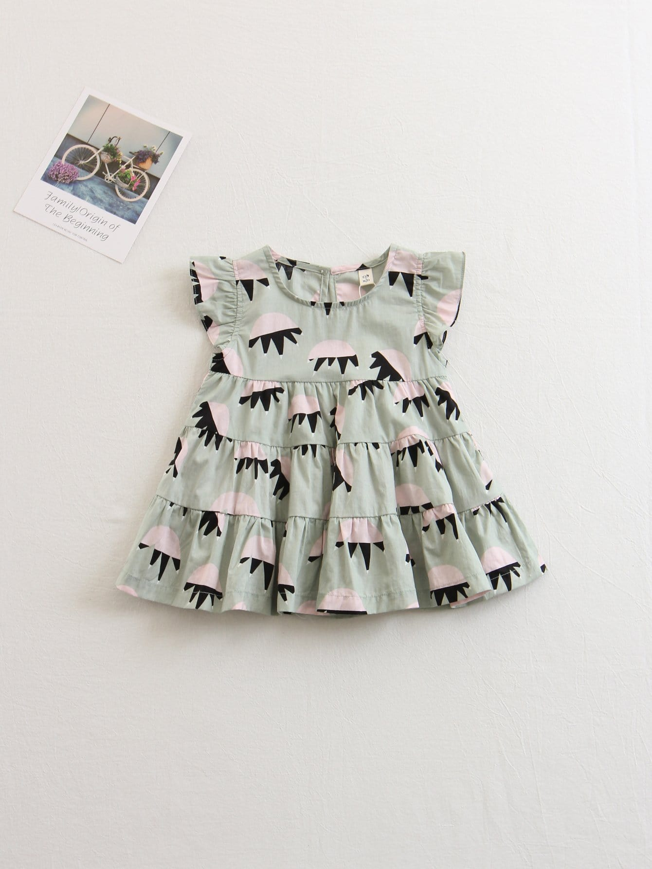 все цены на Girls Frill Sleeve Tiered Dress