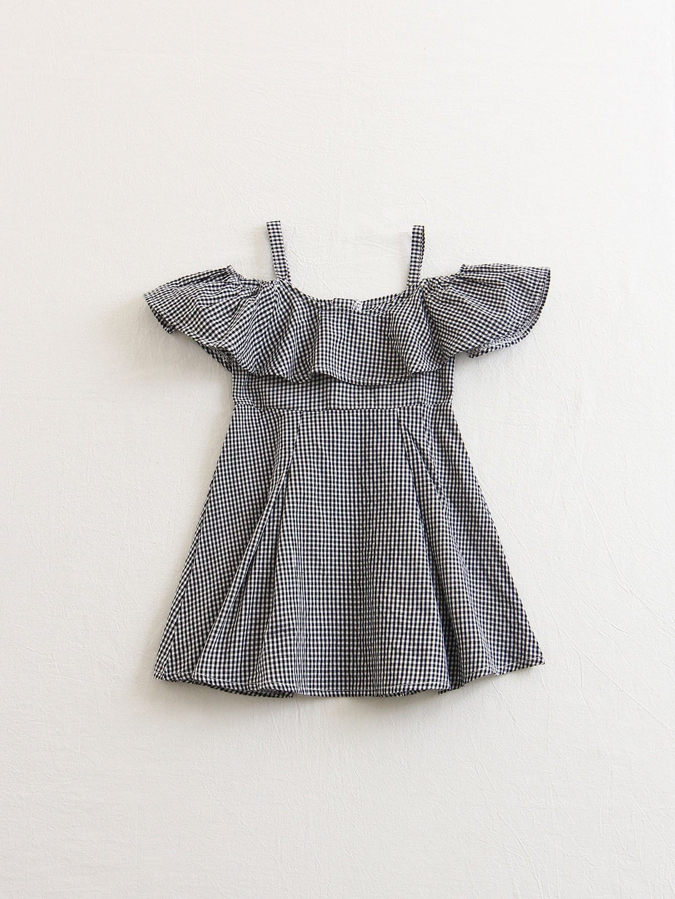 Flounce Cold Shoulder Gingham Dress stylish cami stripe spliced flounce ruffles cold shoulder women s dress
