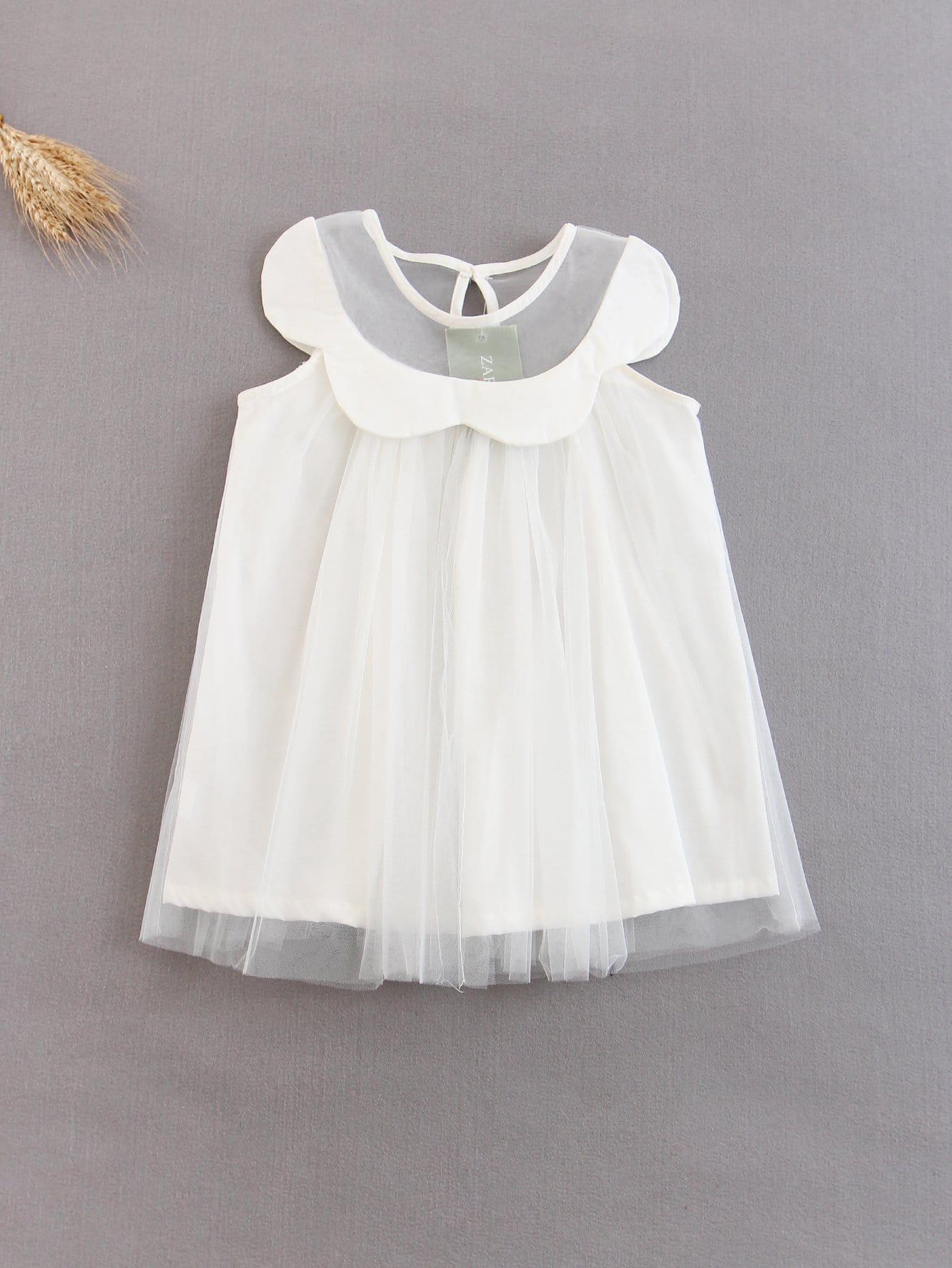 Girls Mesh Ruffle Overlay Dress ruffle mesh panel dress
