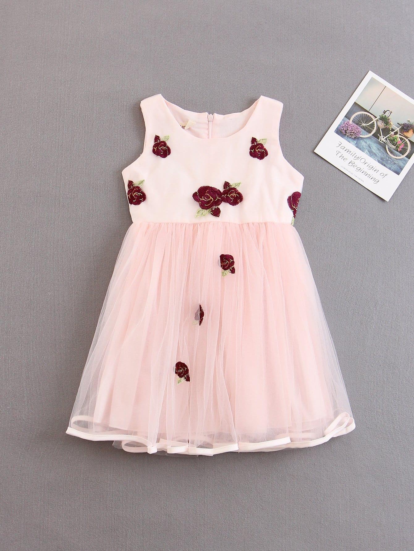 Kids Floral Applique Mesh Overlay Dress applique mesh overlay fit