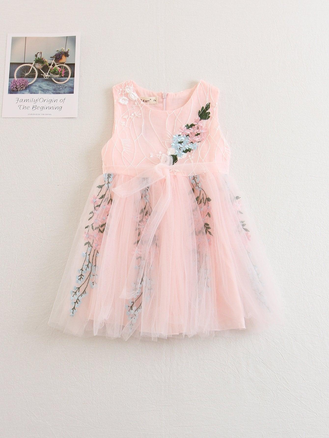Купить Платье с прозрачными вставками и вышивкой цветы для детей, null, SheIn