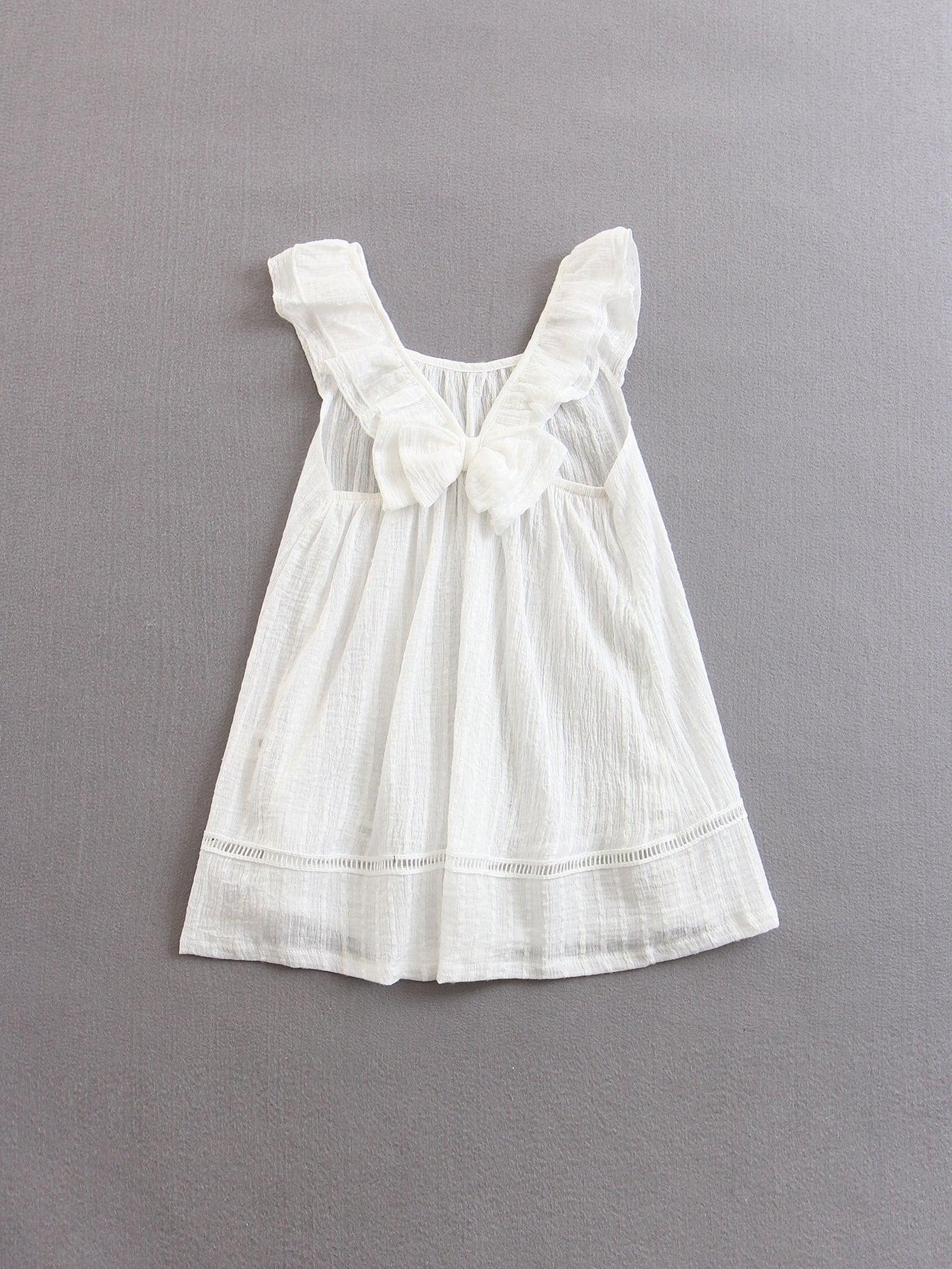 Купить Платье с лазерной вырезкой и открытыми плечами для детей, null, SheIn