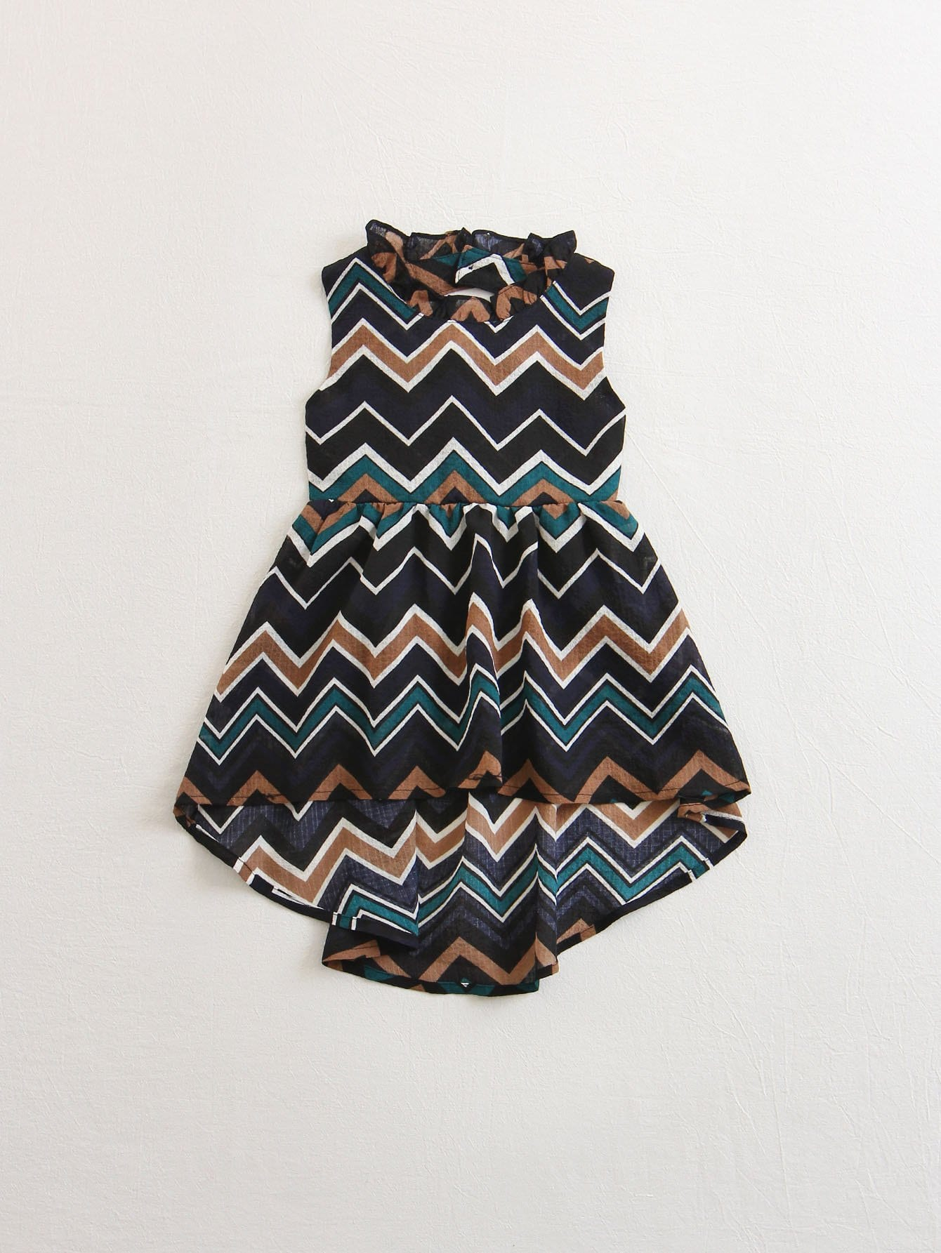 Kids Chevron Print Dip Hem Dress tropical print dip hem wrap dress