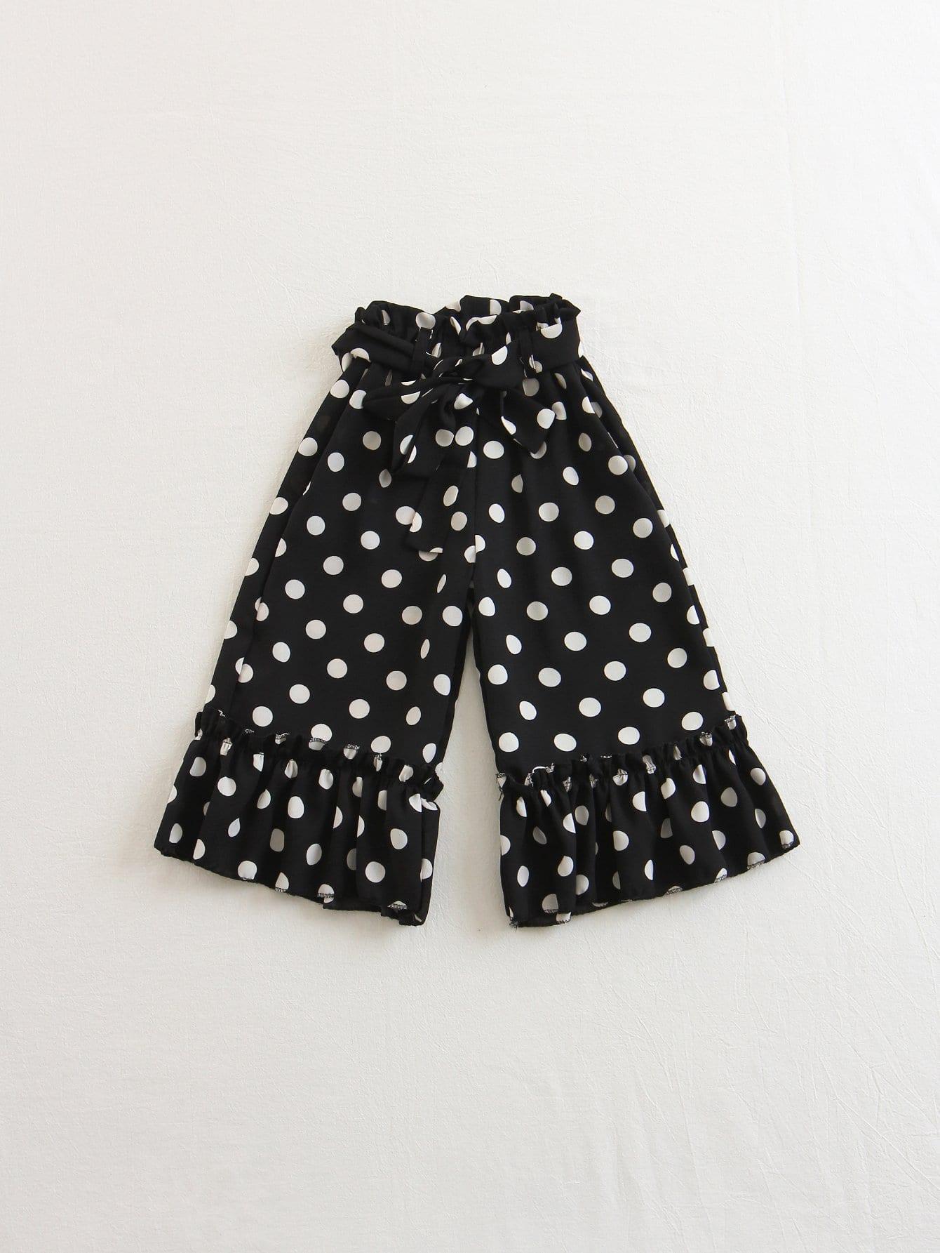 Ruffle Detail Belted Polka Dot Pants ruffle trim belted polka dot dress