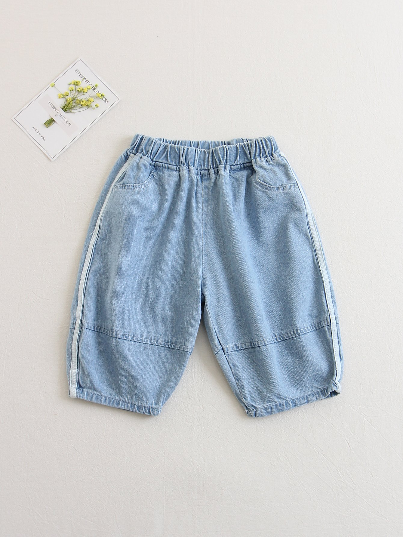Kids Striped Side Elastic Waist Jeans kids elastic waist striped pants