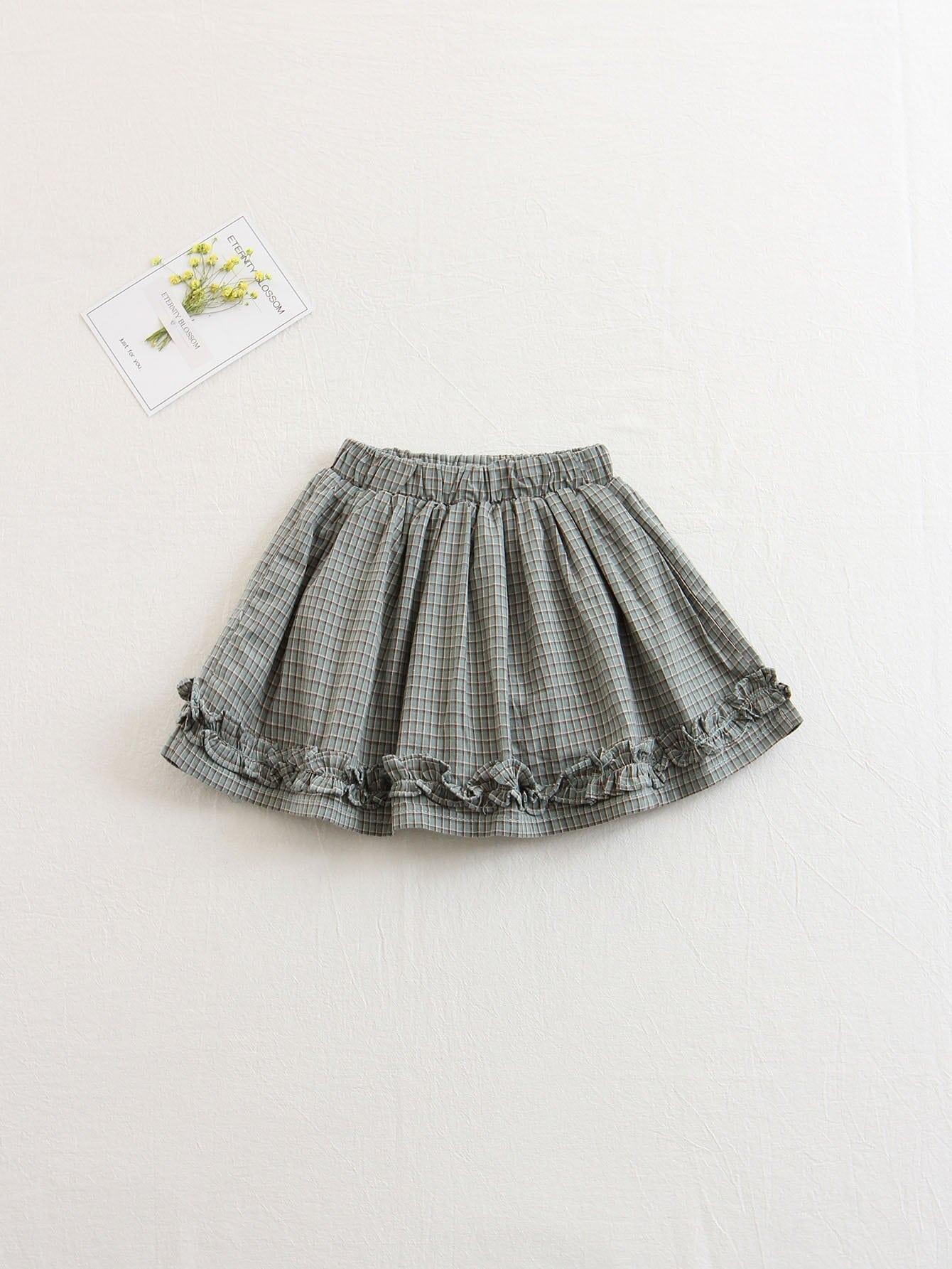 Kids Frill Plaid Shorts
