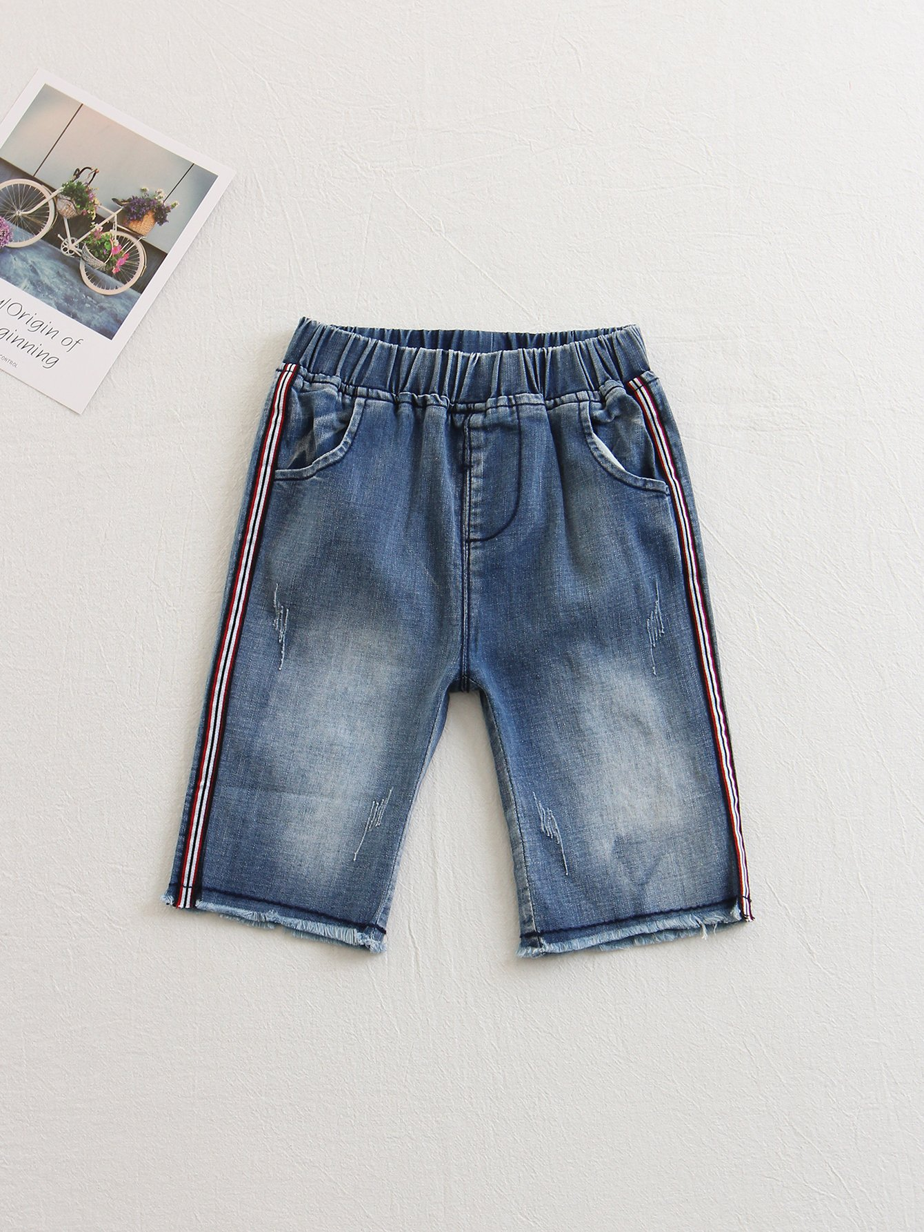 Kids Stripe Side Raw Hem Denim Pants kids stripe side raw hem denim pants