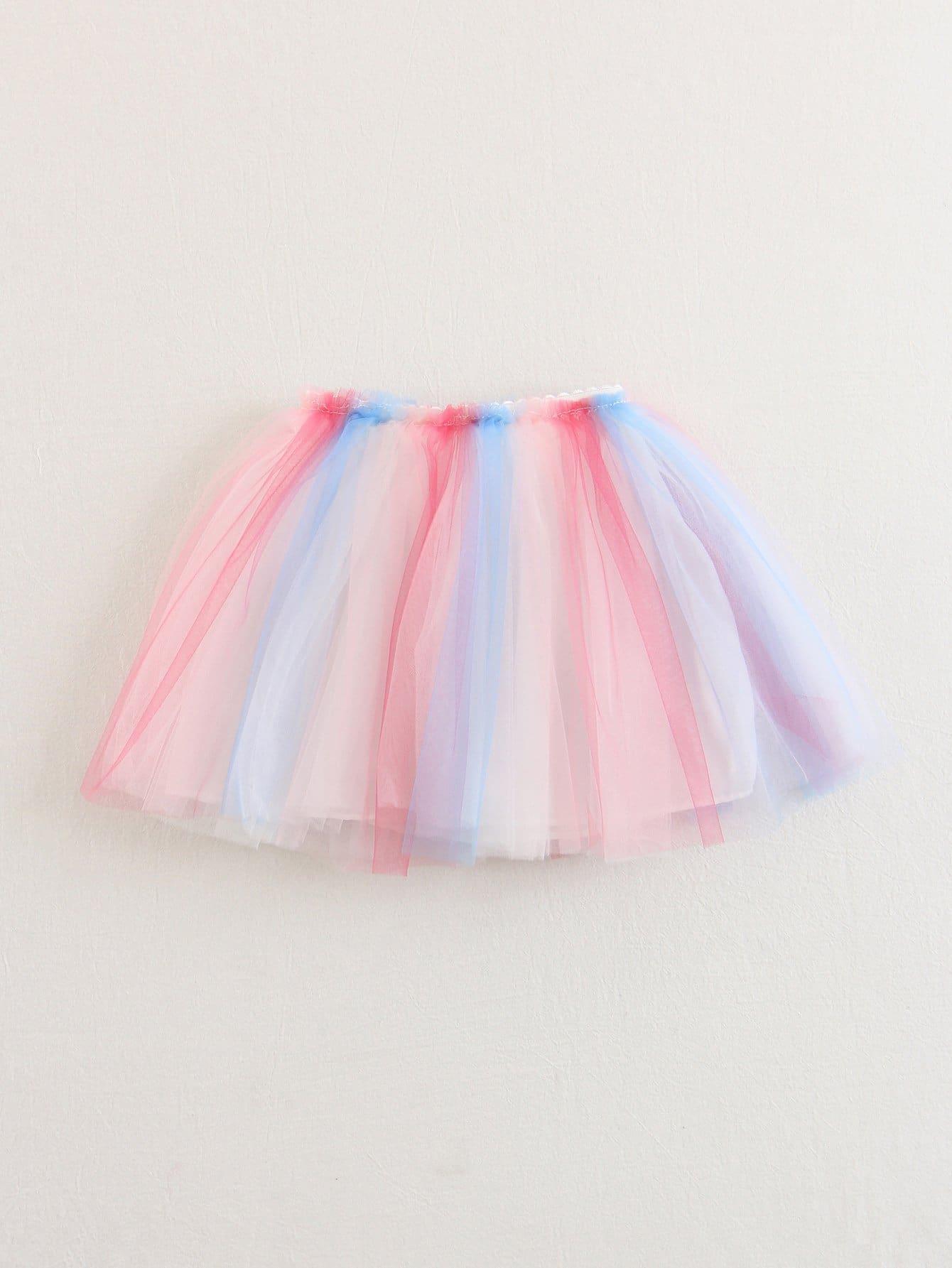 Купить Юбка с прозрачными панелями радуга для детей, null, SheIn