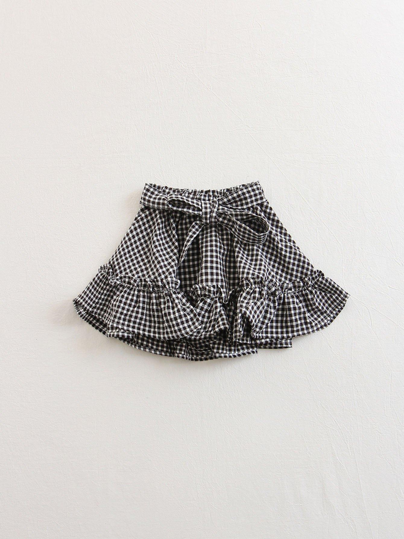 Kids Plaid Bow Ruffle Trim Skirt