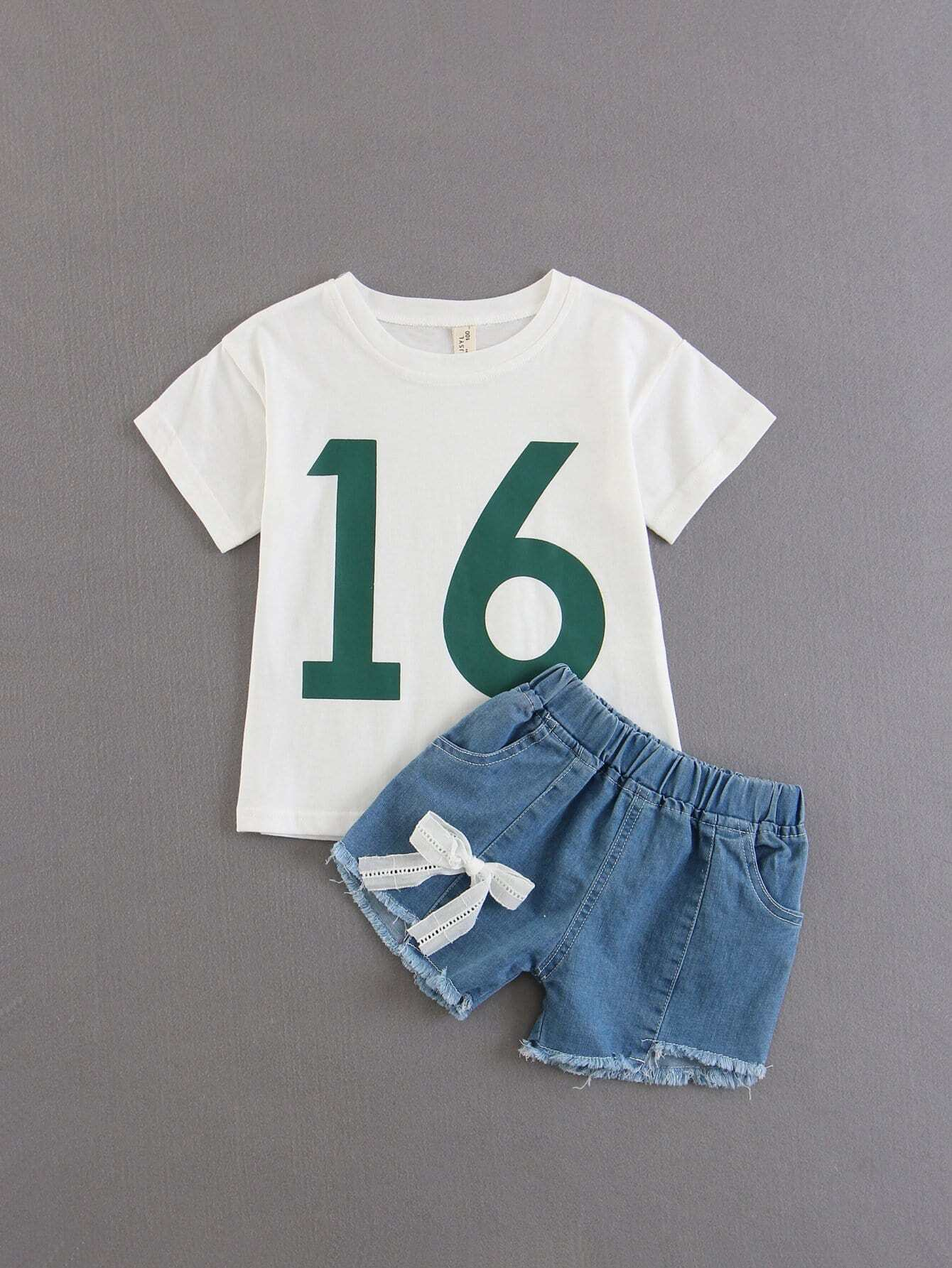 Kids Letter Print Tee With Shorts letter print hooded tee with shorts